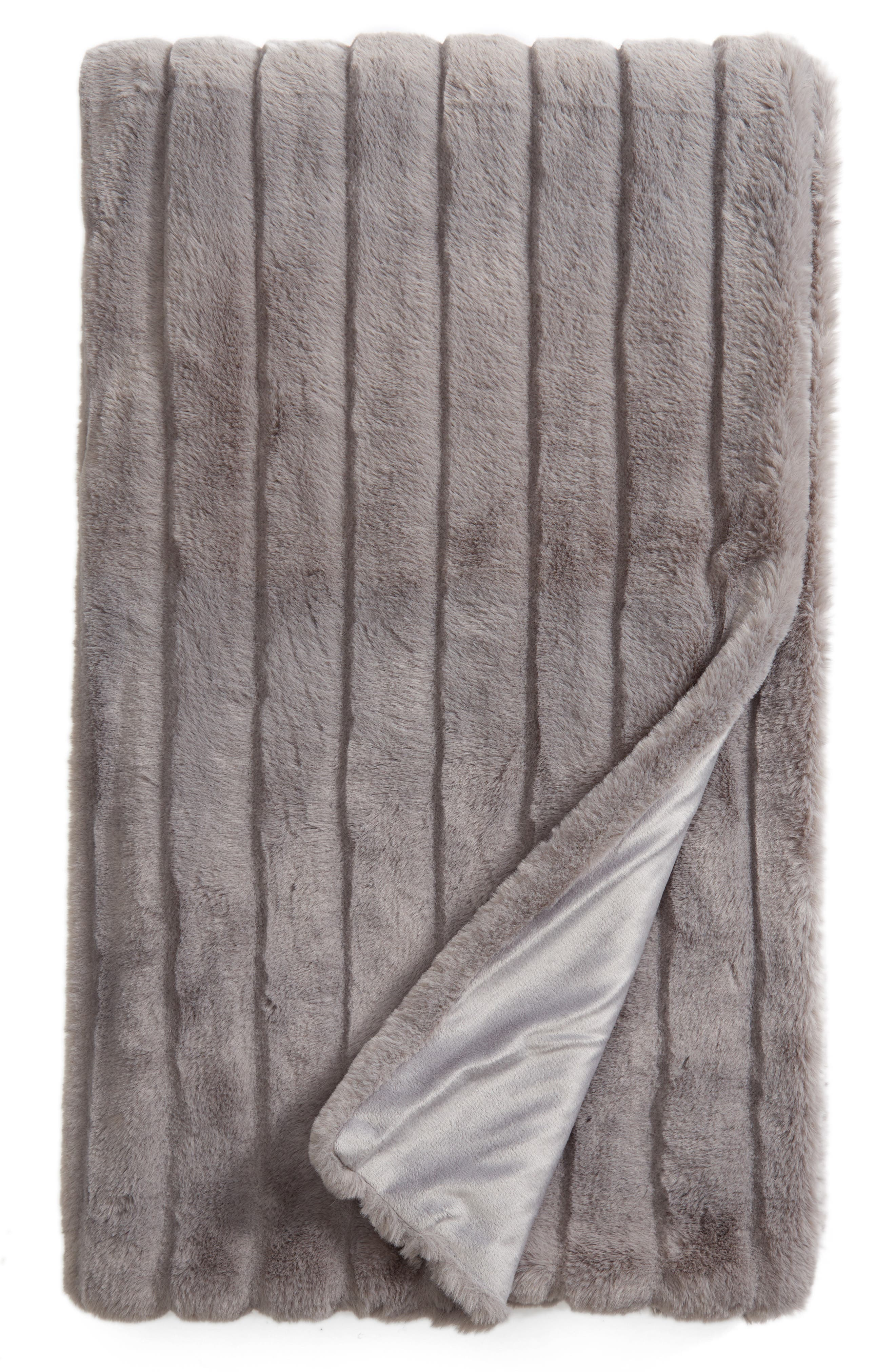Sheared Stripe Faux Fur Throw,                         Main,                         color, GREY FROST