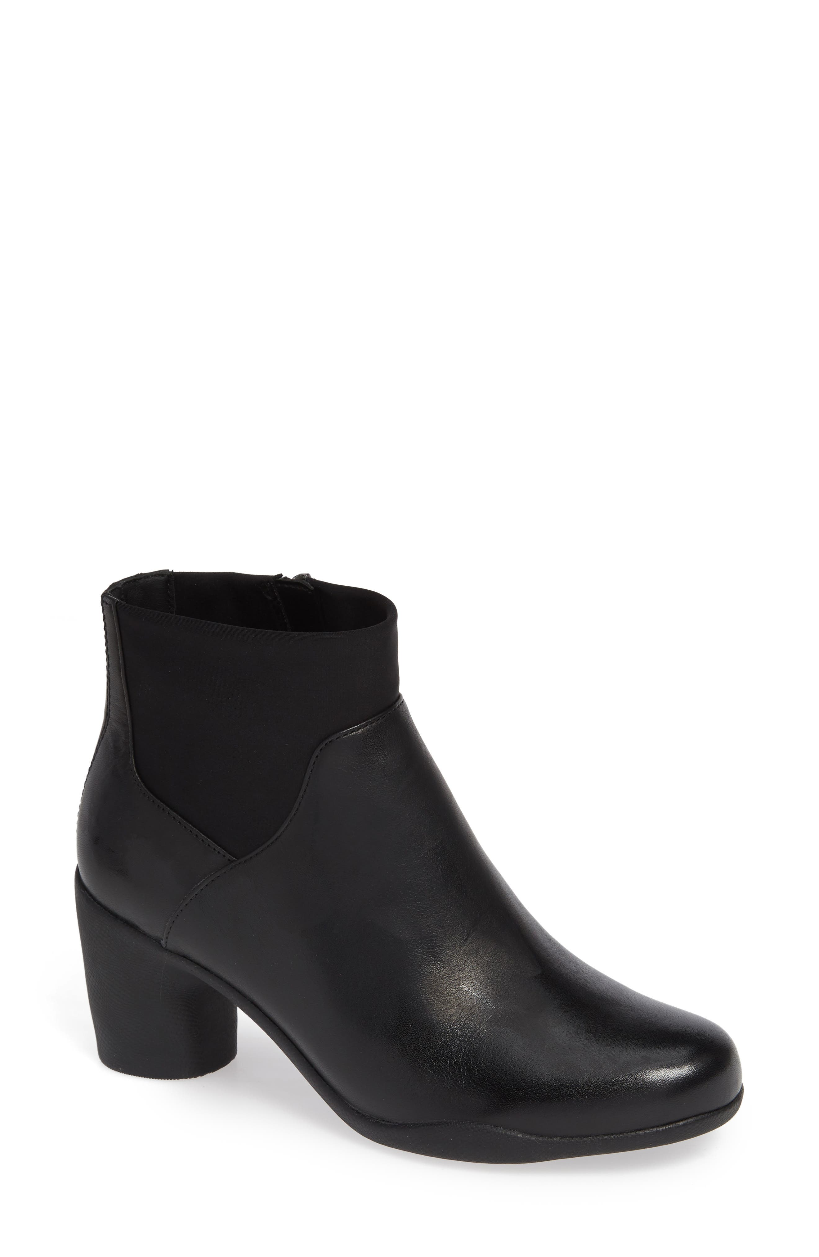 Clarks Un Rose Mid Ankle Boot,                         Main,                         color, BLACK LEATHER