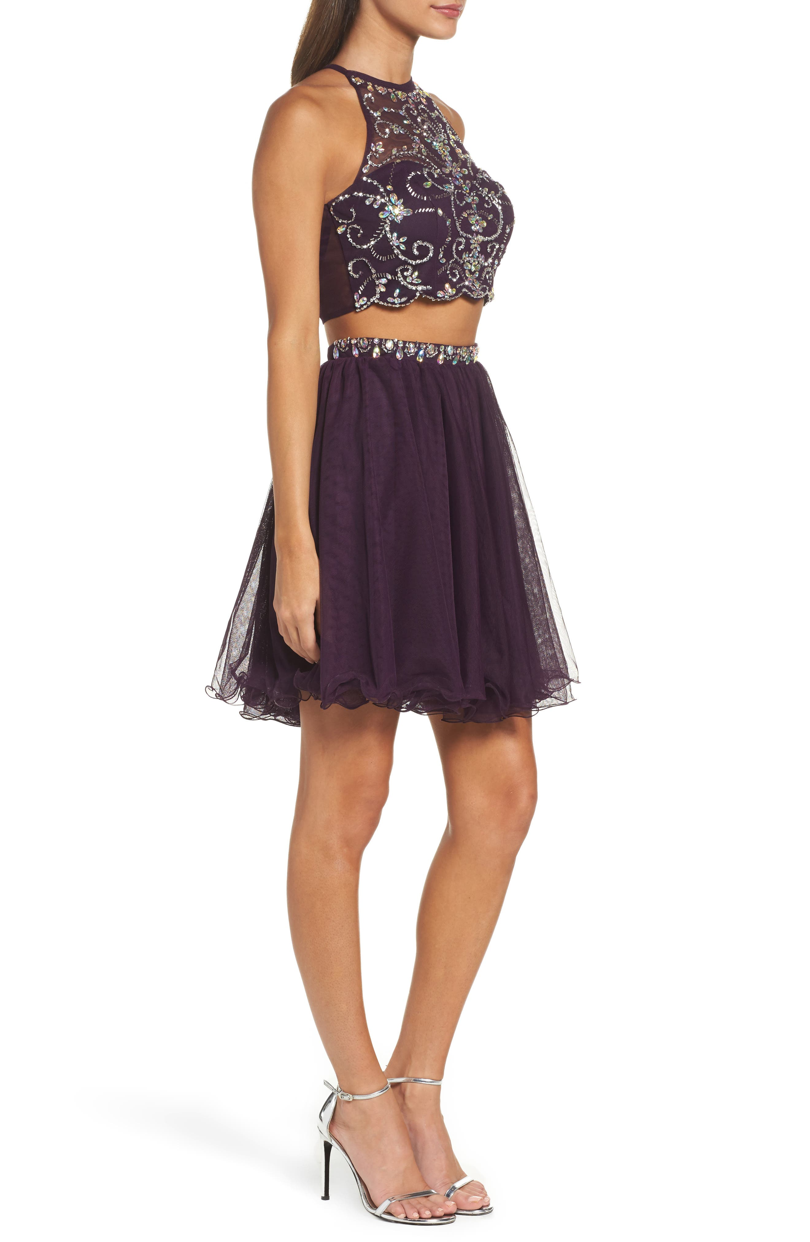 Embellished Two-Piece Fit & Flare Dress,                             Alternate thumbnail 3, color,                             510