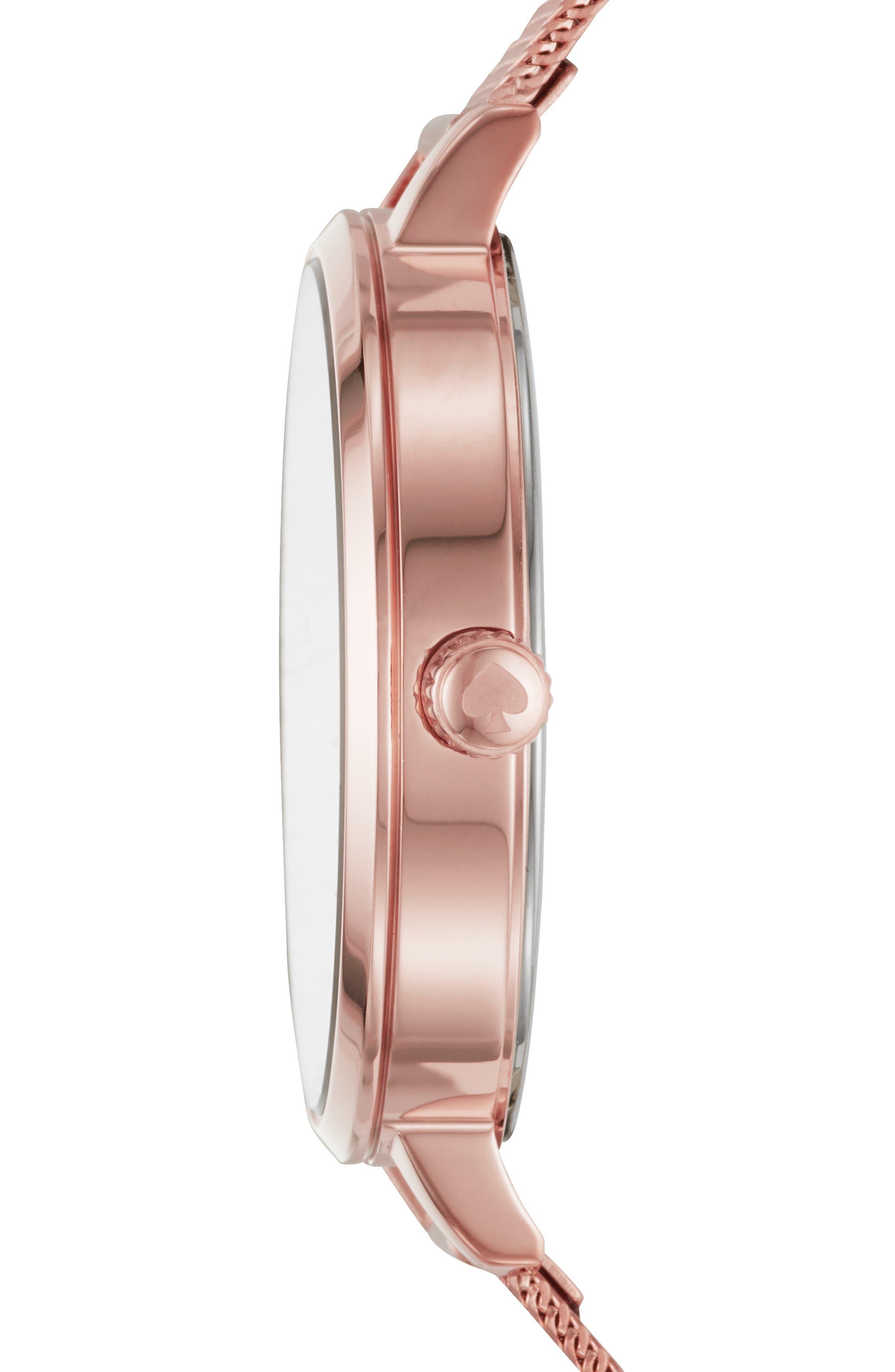 KATE SPADE NEW YORK,                             metro mesh bracelet watch, 34mm,                             Alternate thumbnail 2, color,                             ROSE GOLD/ MOP/ ROSE GOLD
