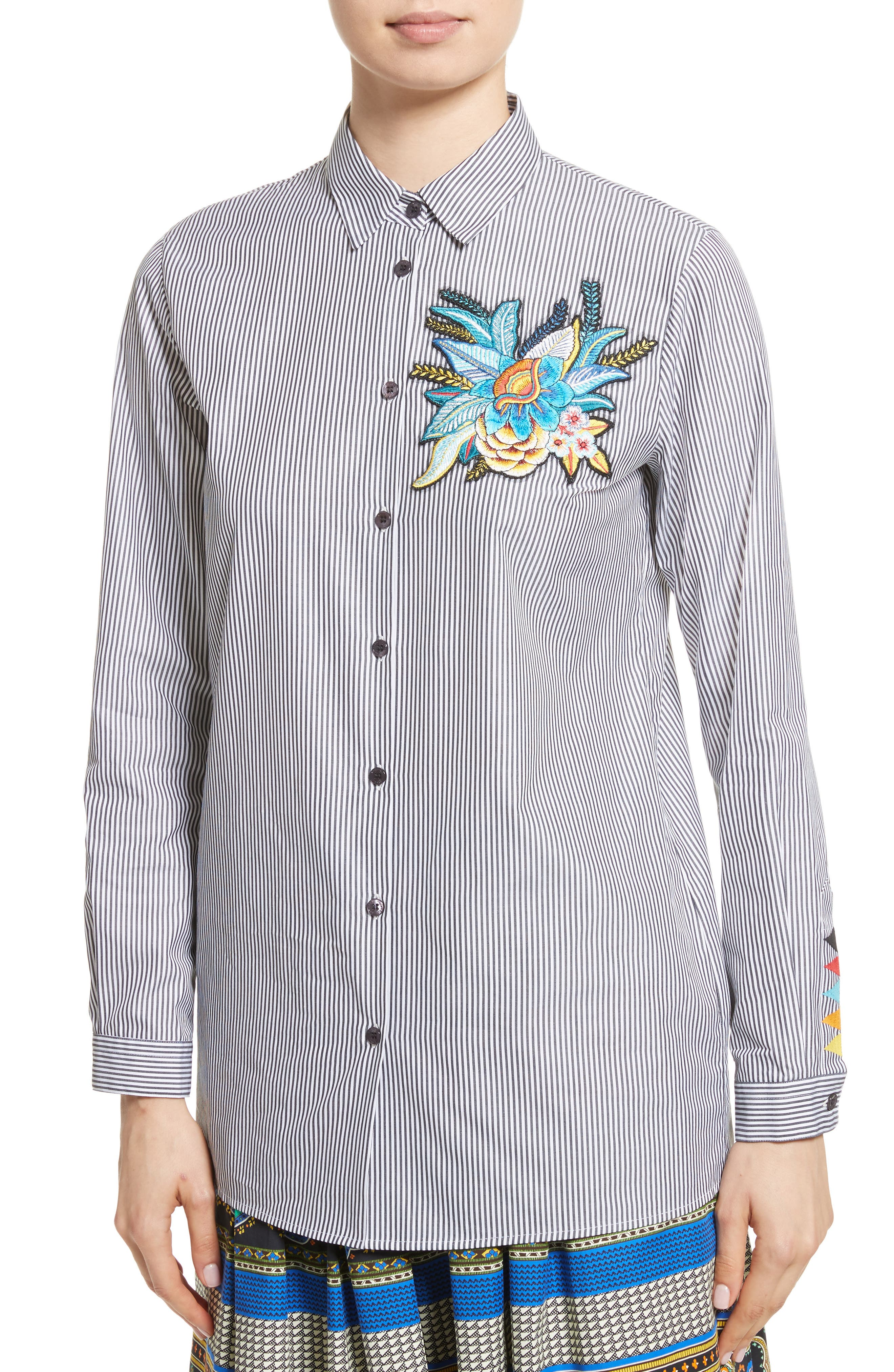 Embroidered Patch Stripe Shirt,                             Alternate thumbnail 4, color,