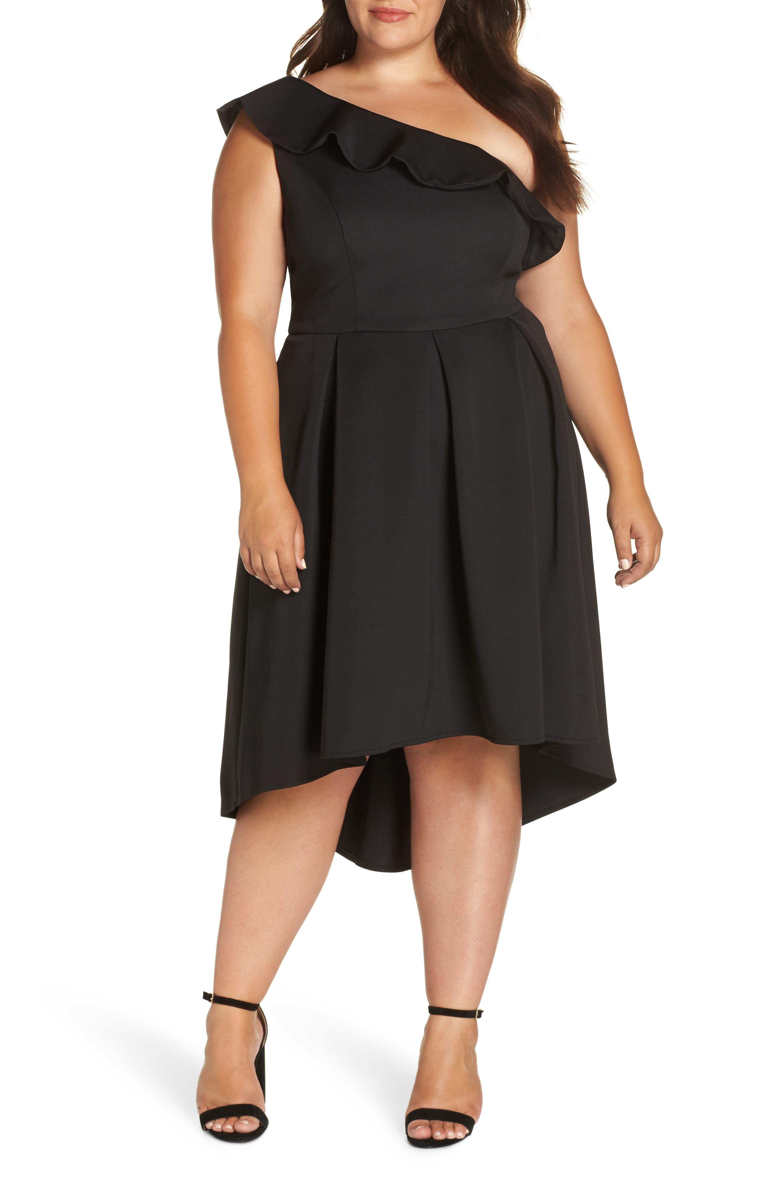 plus size women's chi chi london one-shoulder dip midi dress