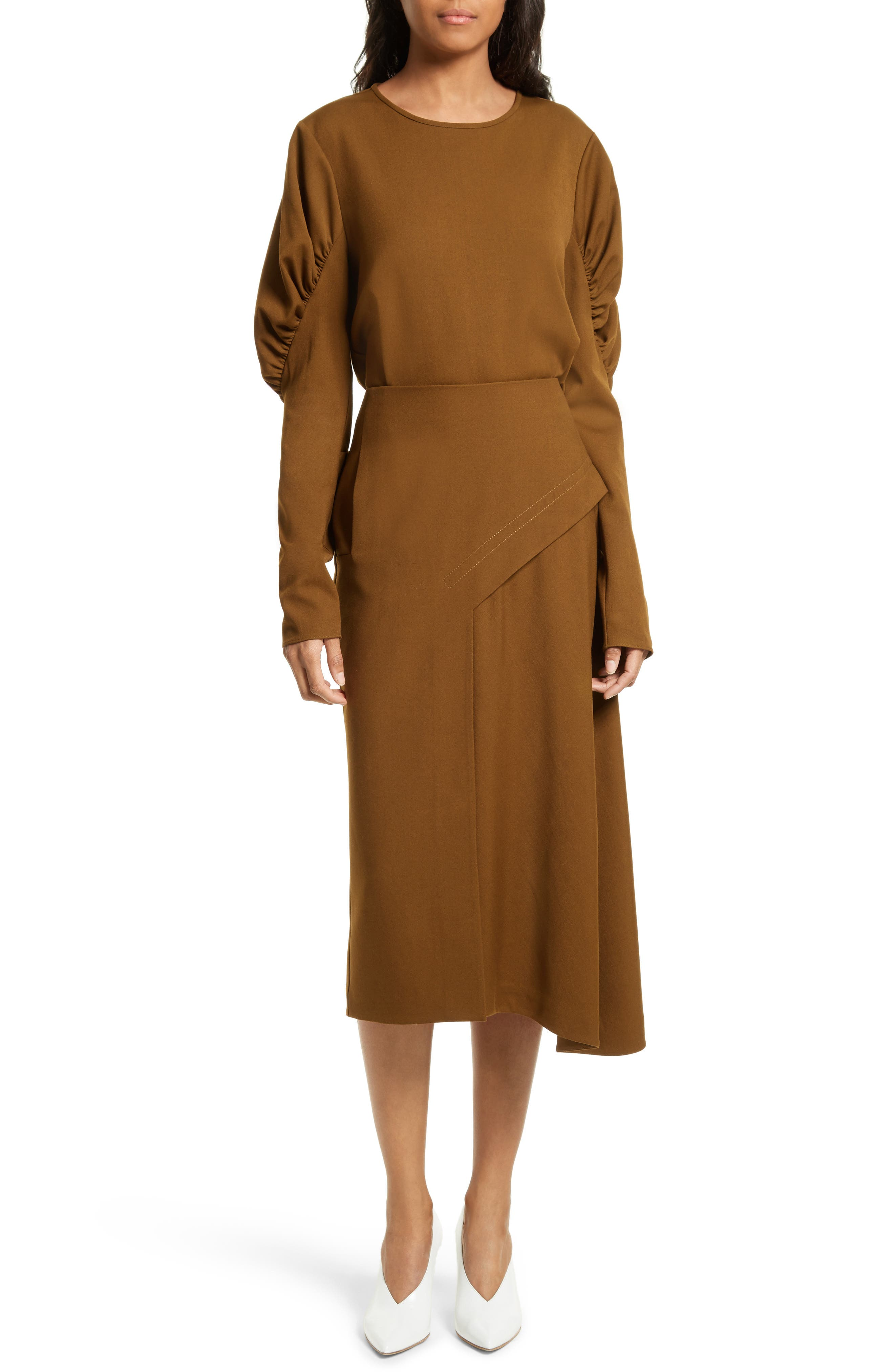 Draped Twill Skirt,                             Alternate thumbnail 6, color,                             200