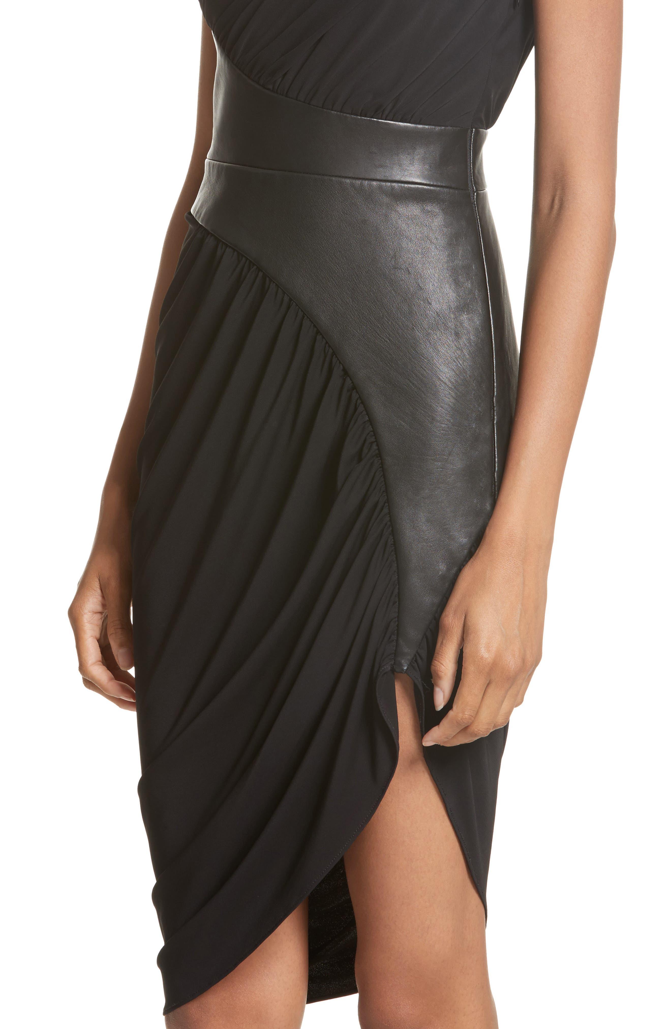 Leather Detail Draped One-Shoulder Dress,                             Alternate thumbnail 4, color,                             001