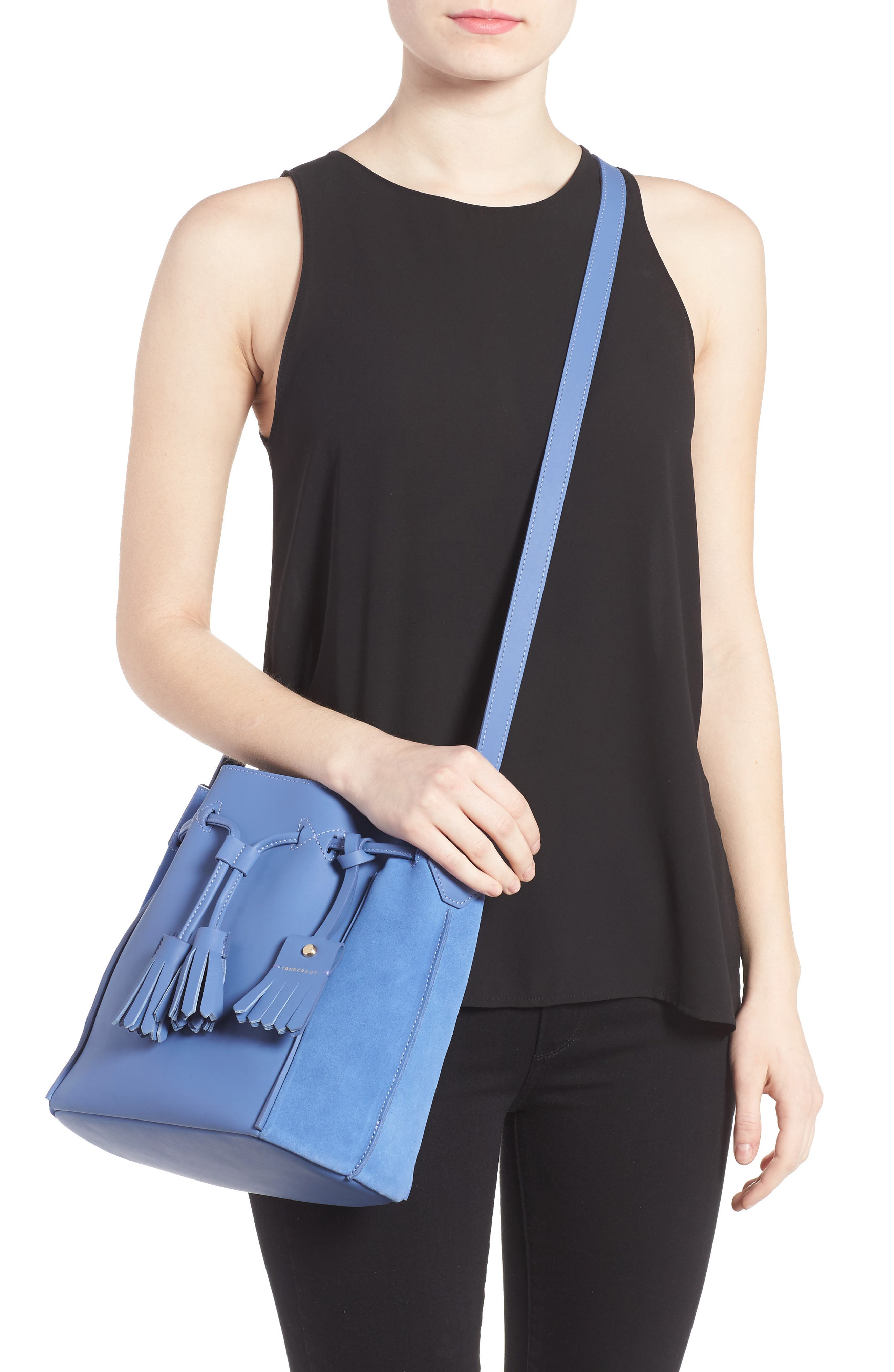 Penelope Fantasie Leather Bucket Bag,                             Alternate thumbnail 6, color,