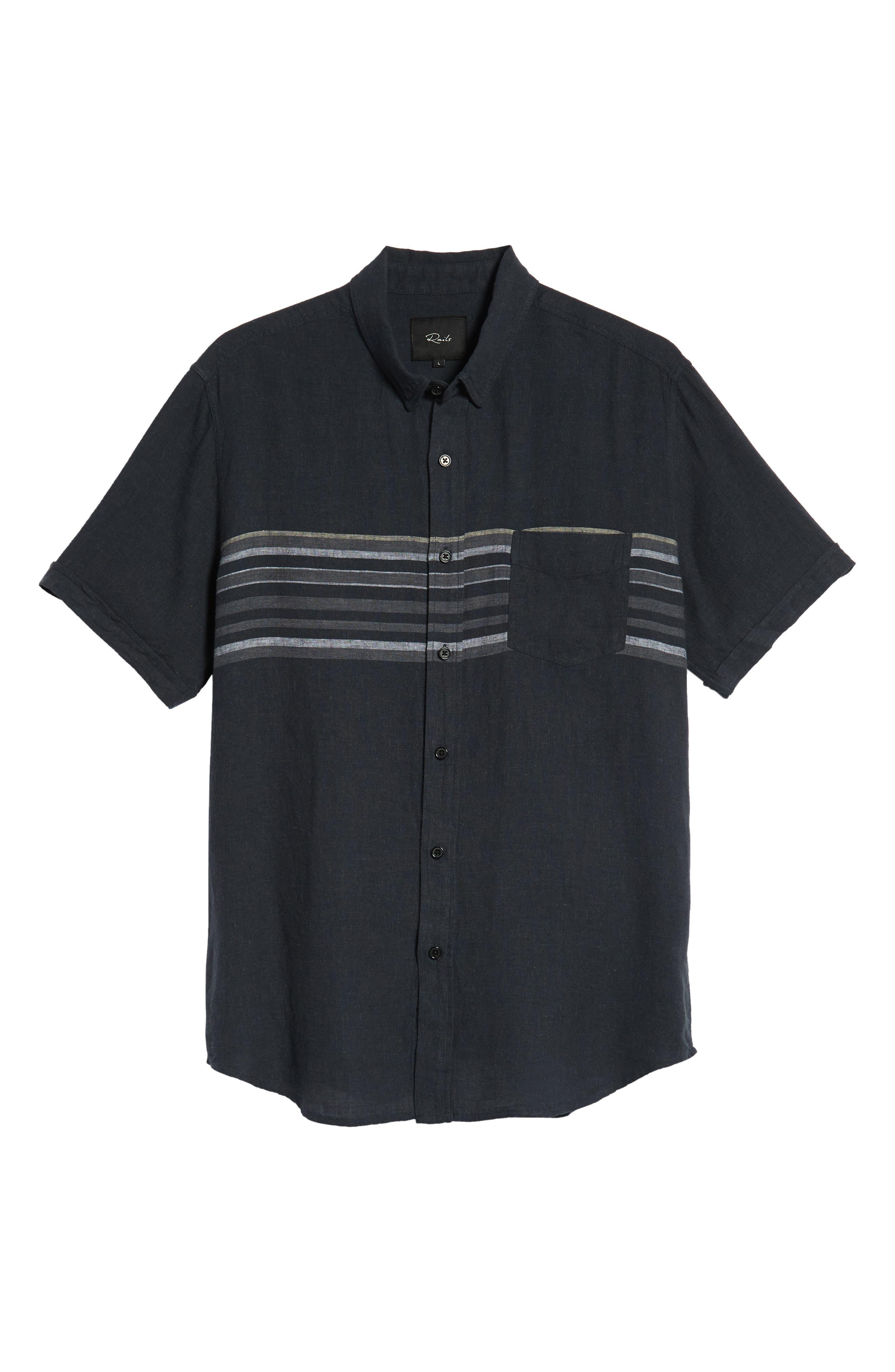 Carson Regular Fit Stripe Woven Shirt,                             Alternate thumbnail 5, color,                             NAVY/WHITE/GREY STRIPE