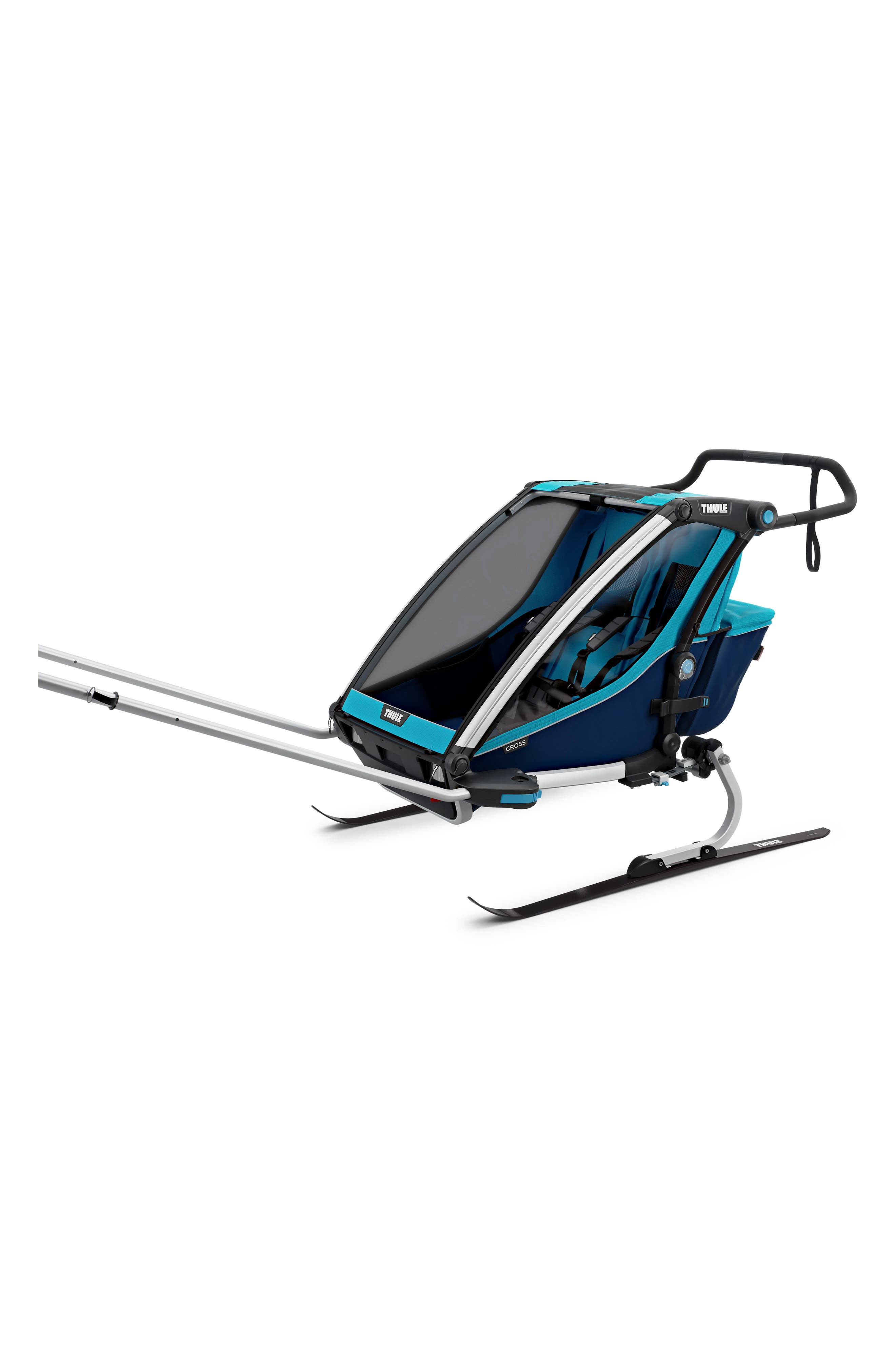 Chariot Cross 2 Multisport Double Cycle Trailer/Stroller,                             Alternate thumbnail 5, color,                             THULE BLUE