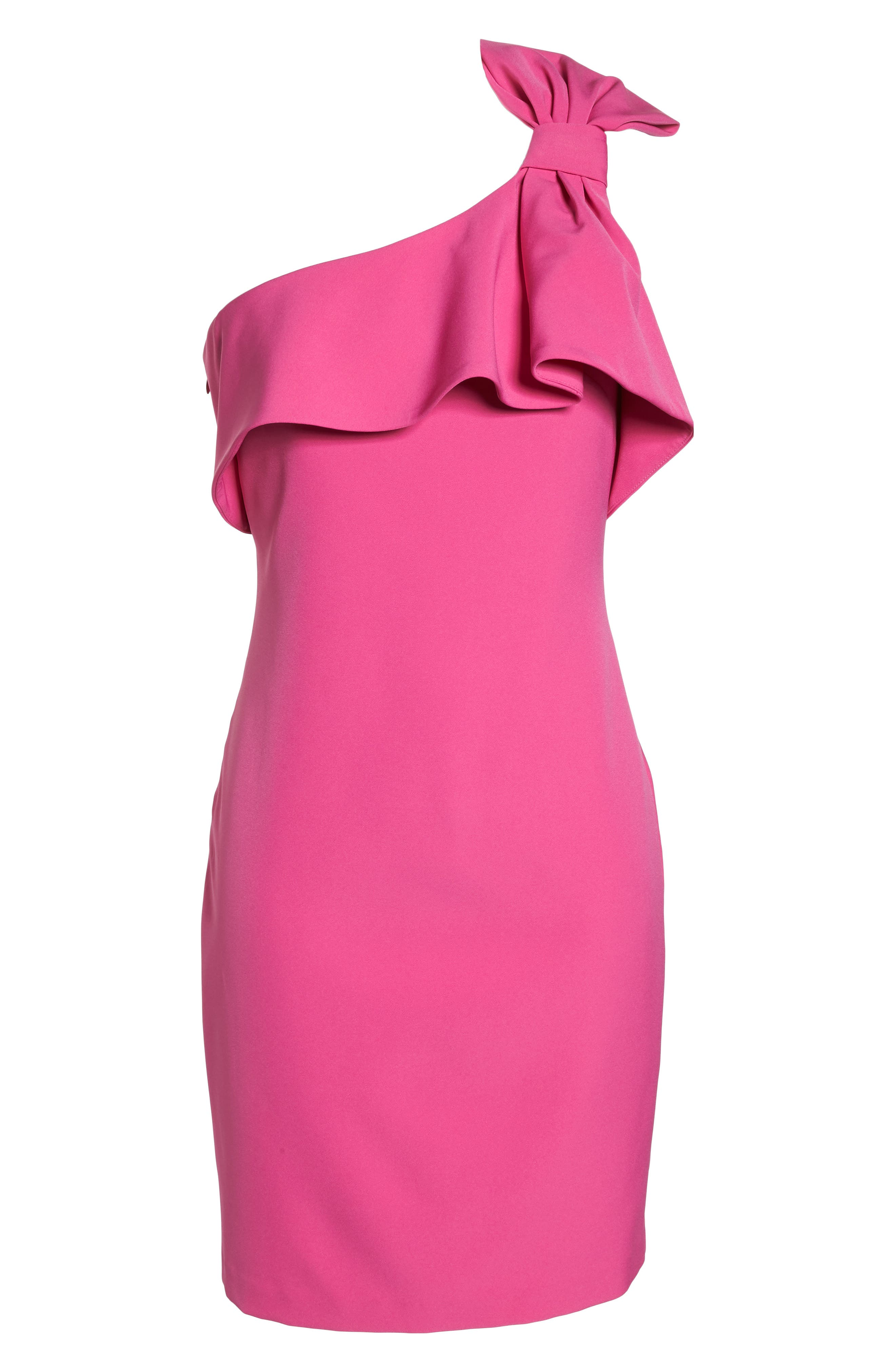 One Shoulder Bow Sheath Dress,                             Alternate thumbnail 7, color,                             FUCHSIA
