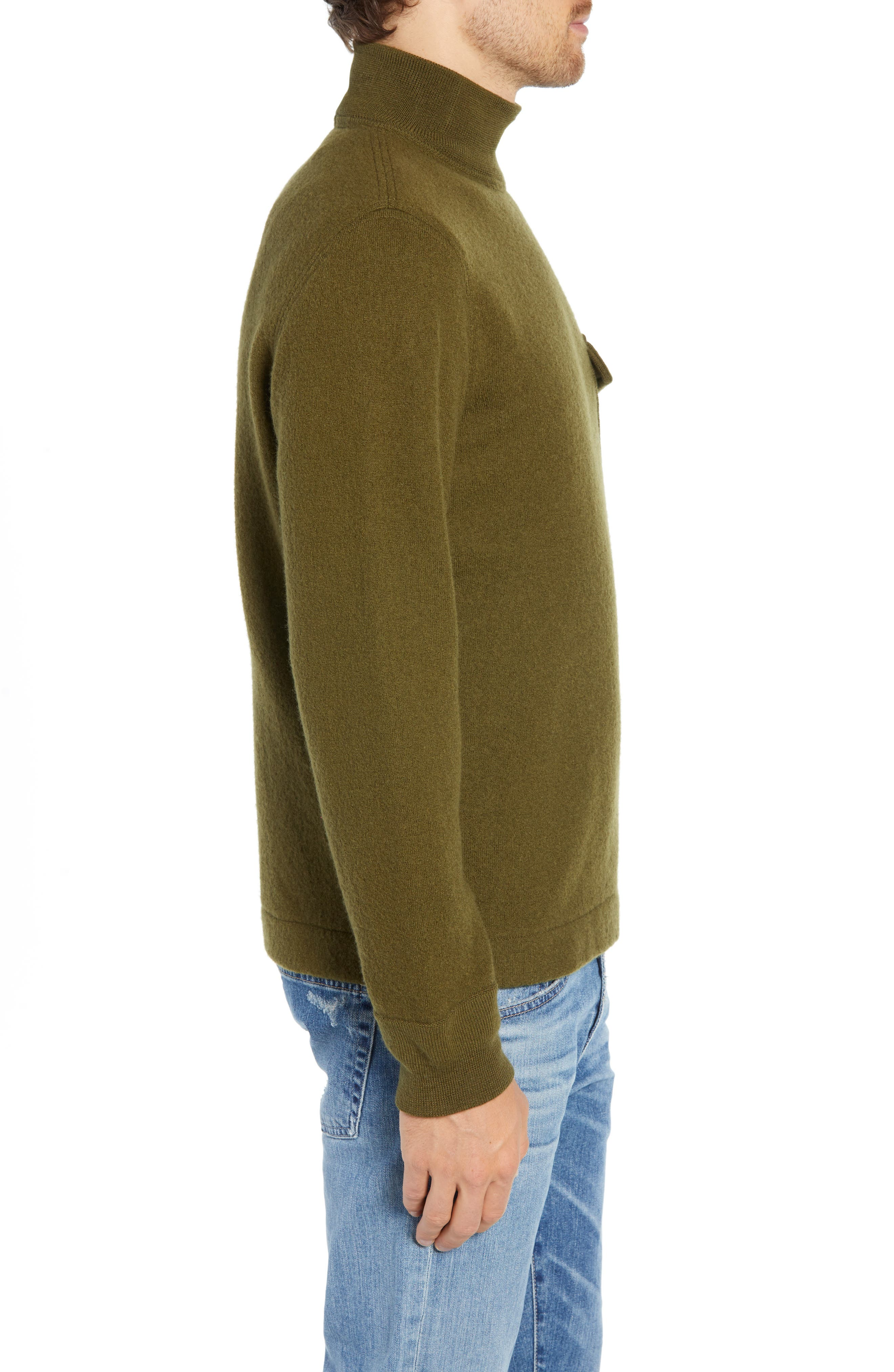 Wallace & Barnes Felted Merino Wool Mock Neck Pullover,                             Alternate thumbnail 3, color,                             ORCHARD GREEN