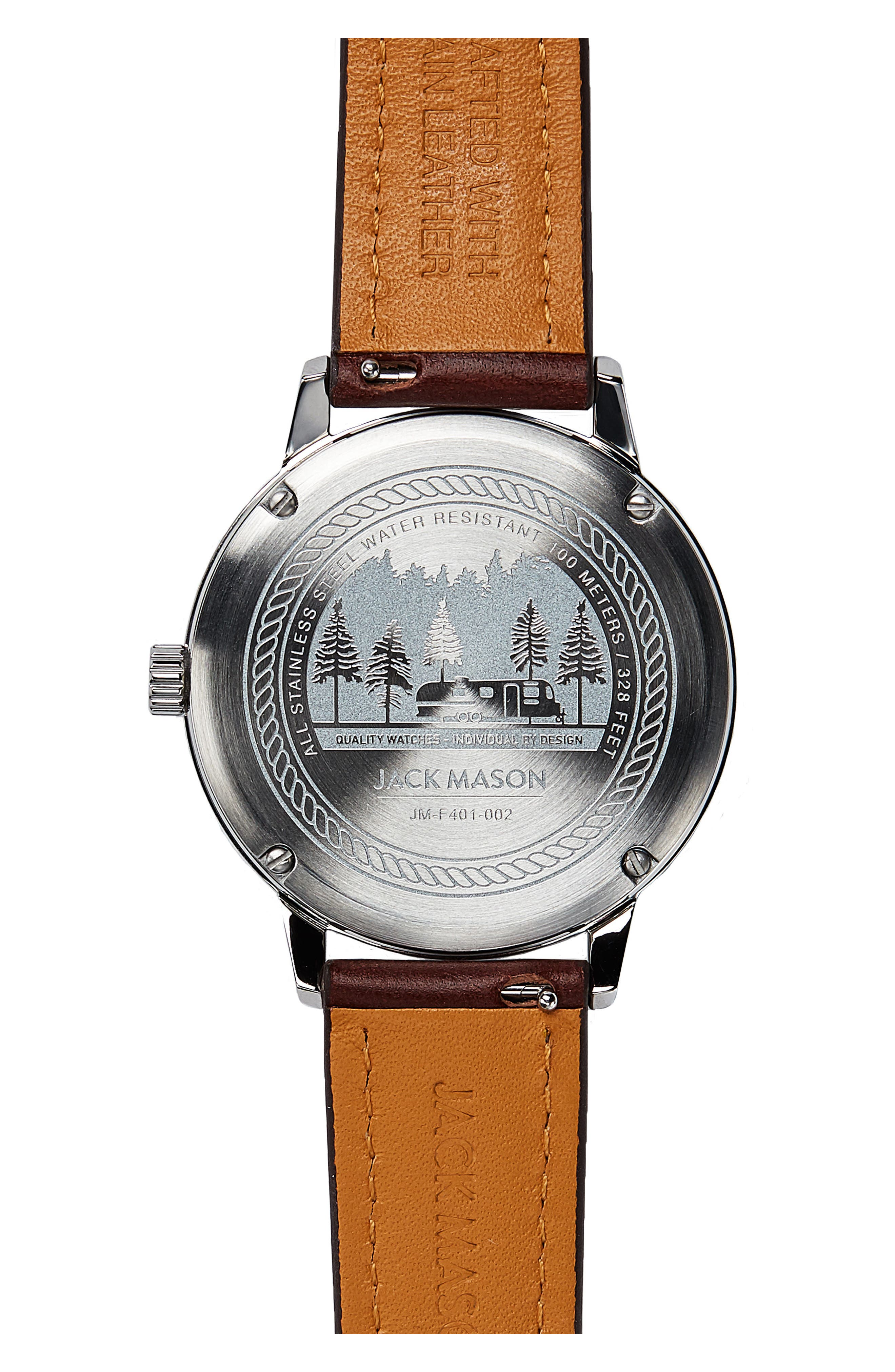 Field Leather Strap Watch, 38mm,                             Alternate thumbnail 2, color,                             NAVY/ DARK BROWN