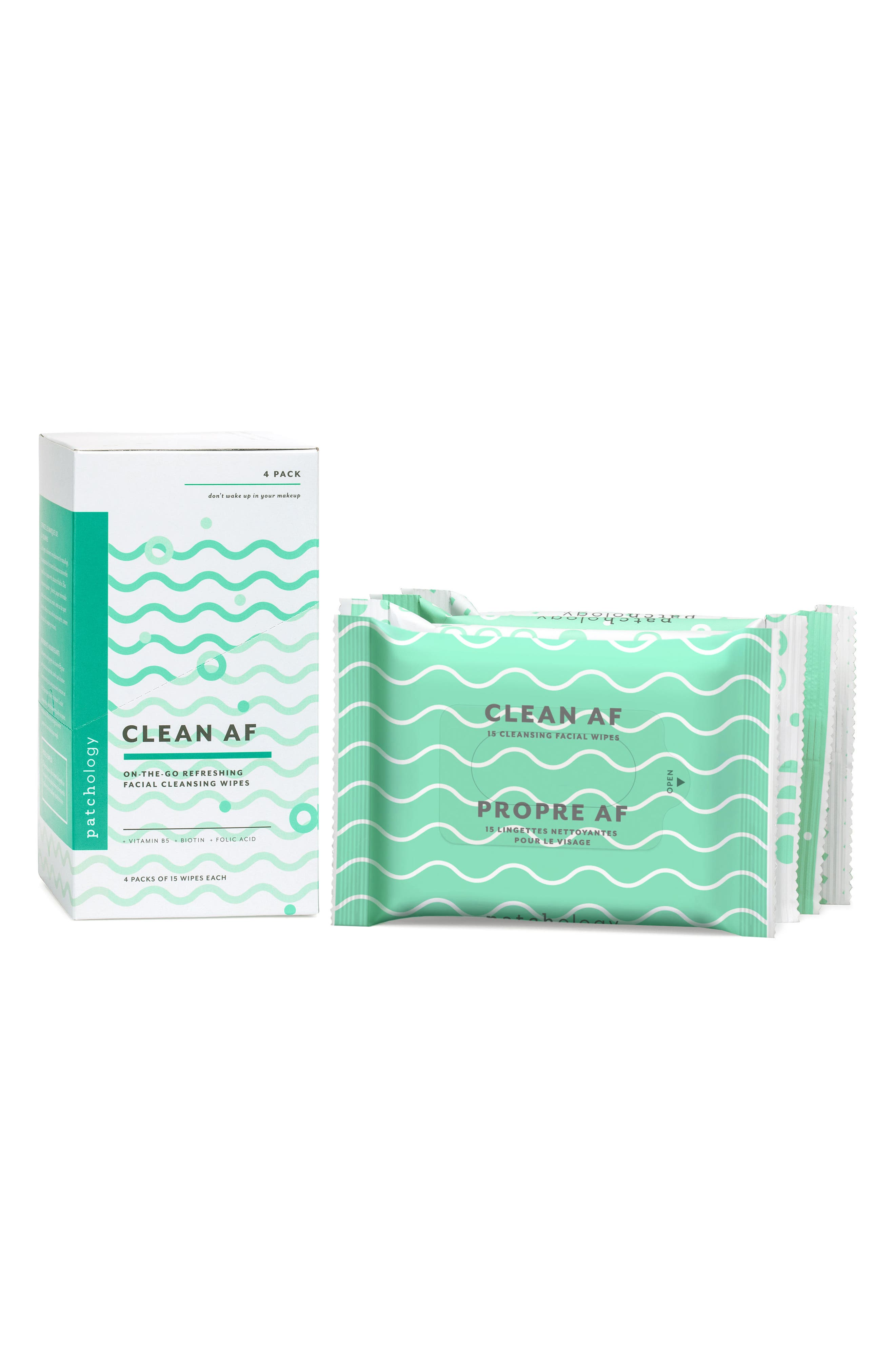 Clean AF On-the-Go Refreshing Facial Cleansing Wipes,                             Main thumbnail 1, color,                             NO COLOR