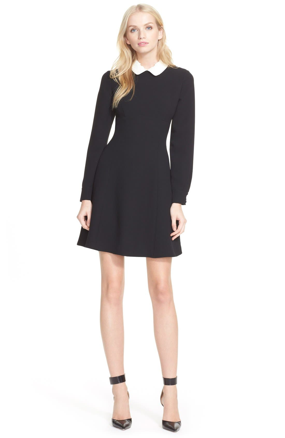 kate spade new york long sleeve sequin collar dress, Main, color, 001