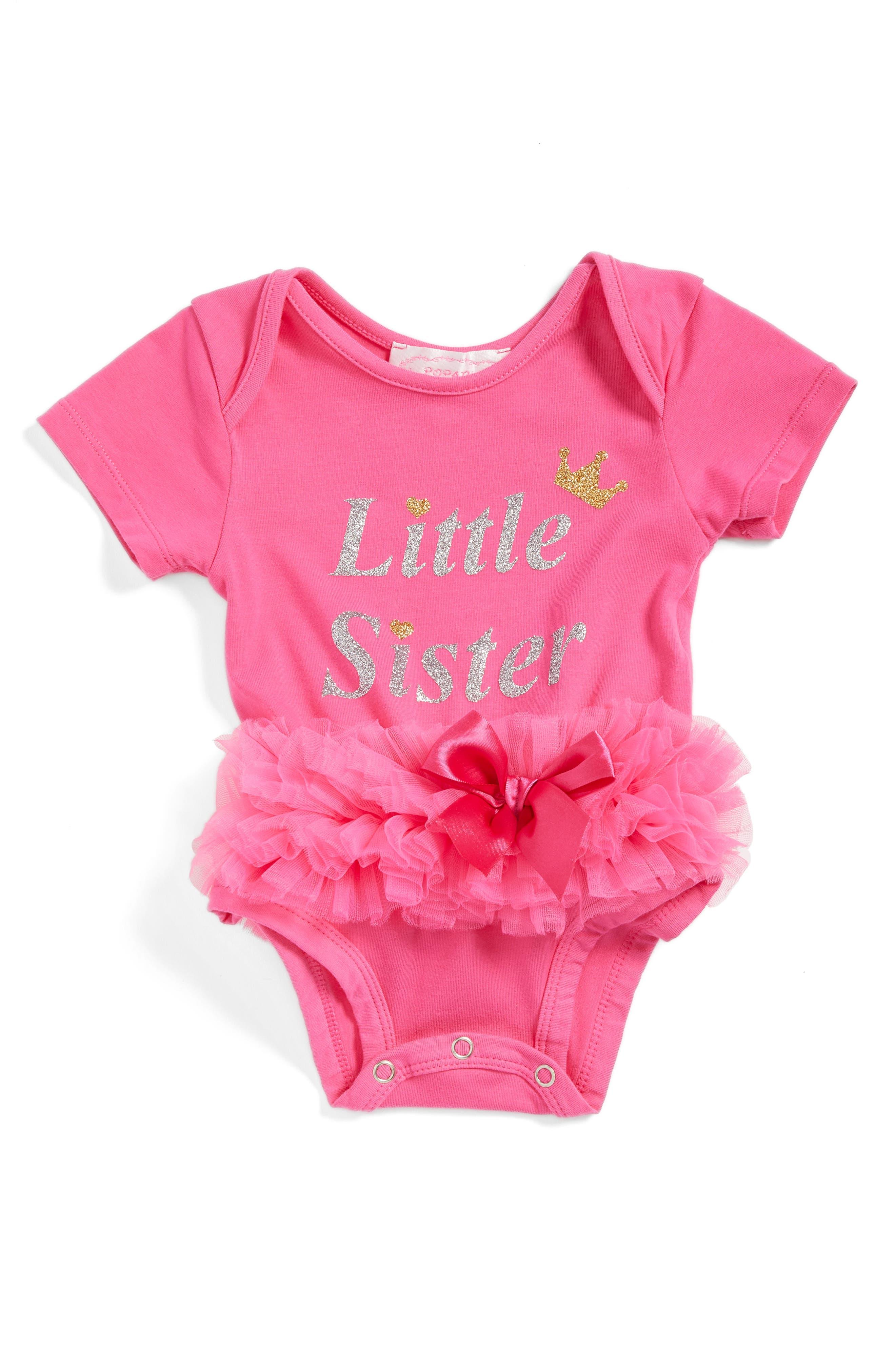 Little Sister Skirted Bodysuit,                             Main thumbnail 1, color,                             HOT PINK