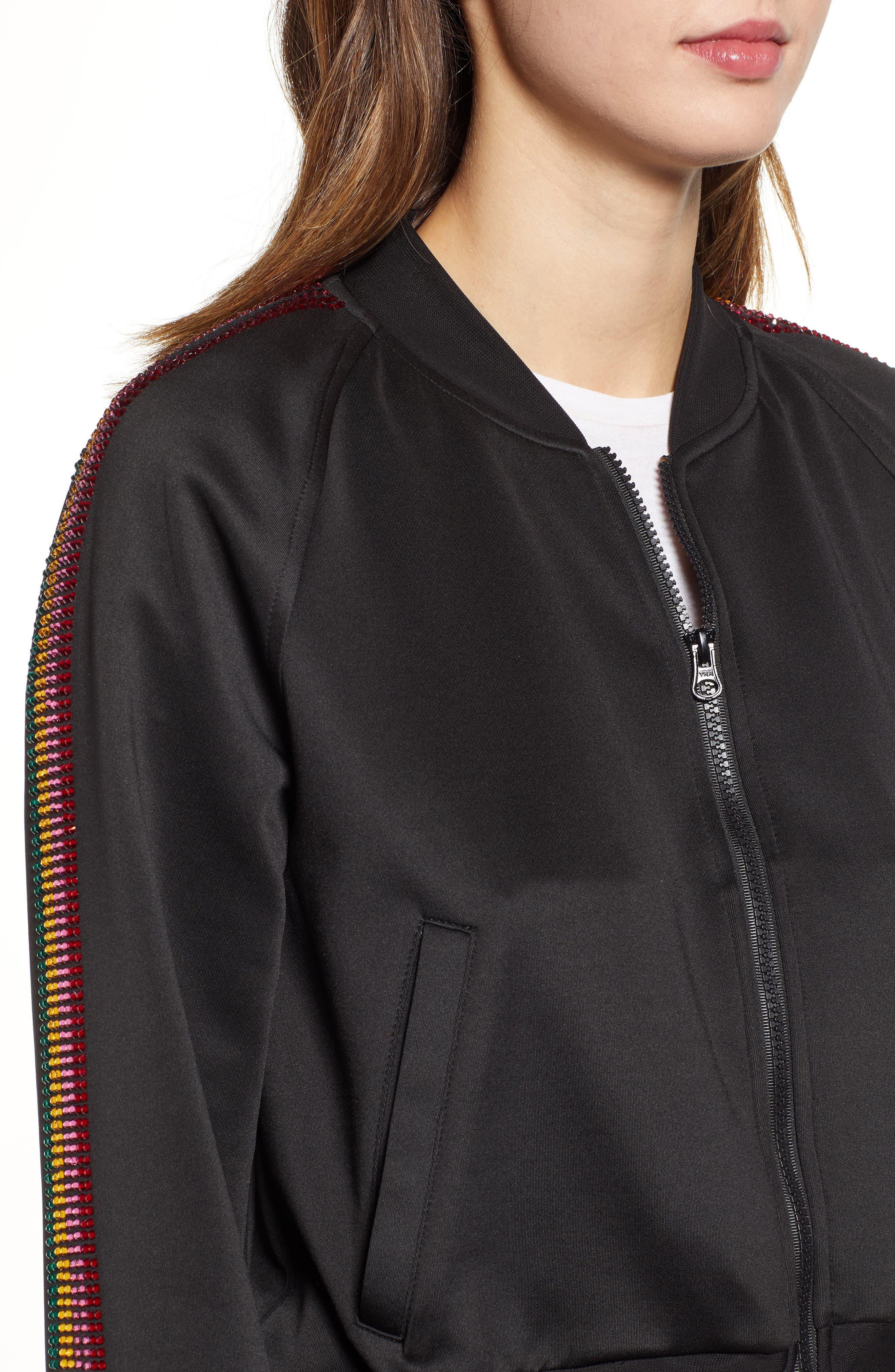 Sleeve Stripe Track Jacket,                             Alternate thumbnail 4, color,                             BLACK