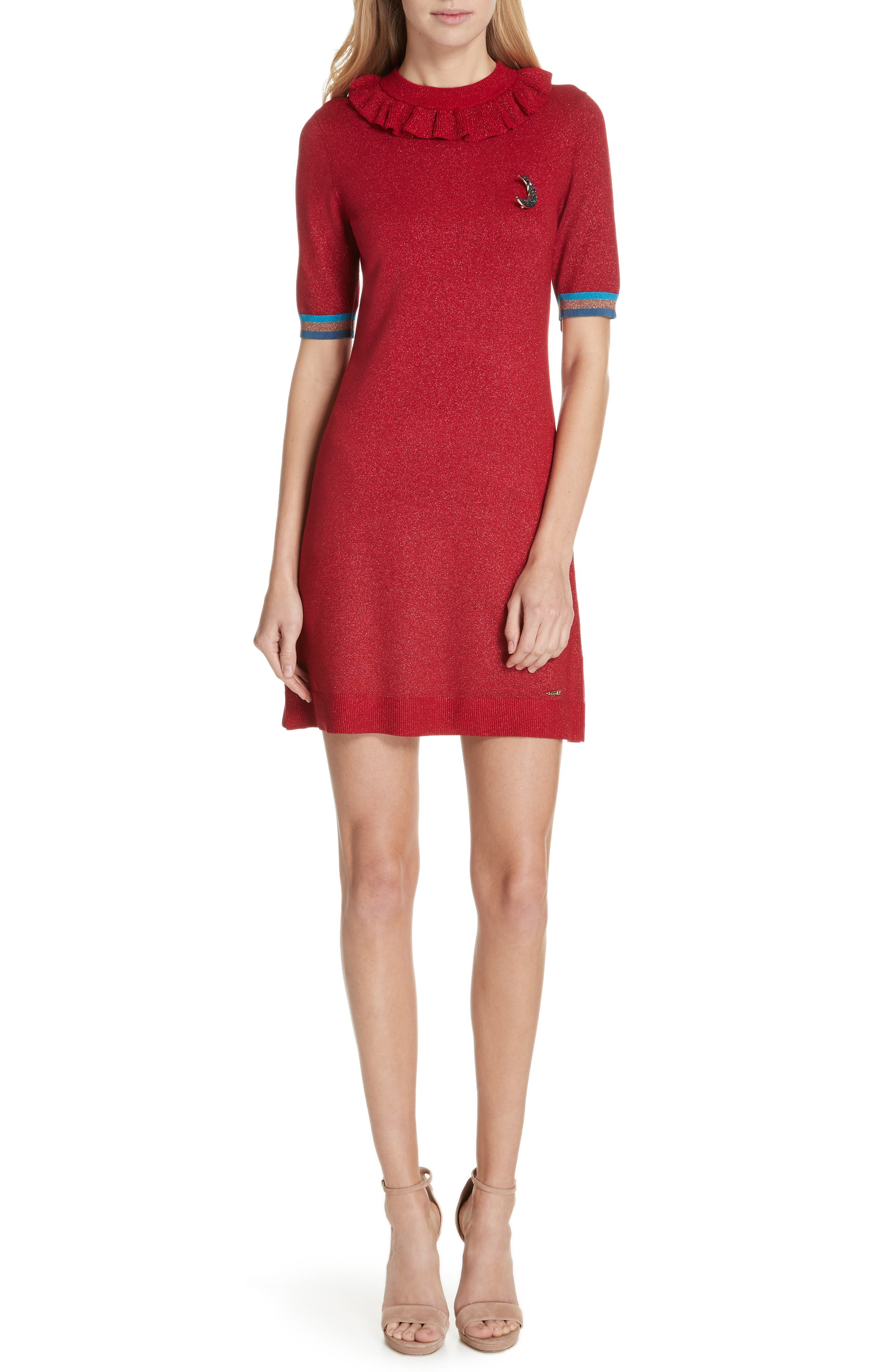 Ted Baker London Colour By Numbers Sabie Metallic Knit Dress, Red