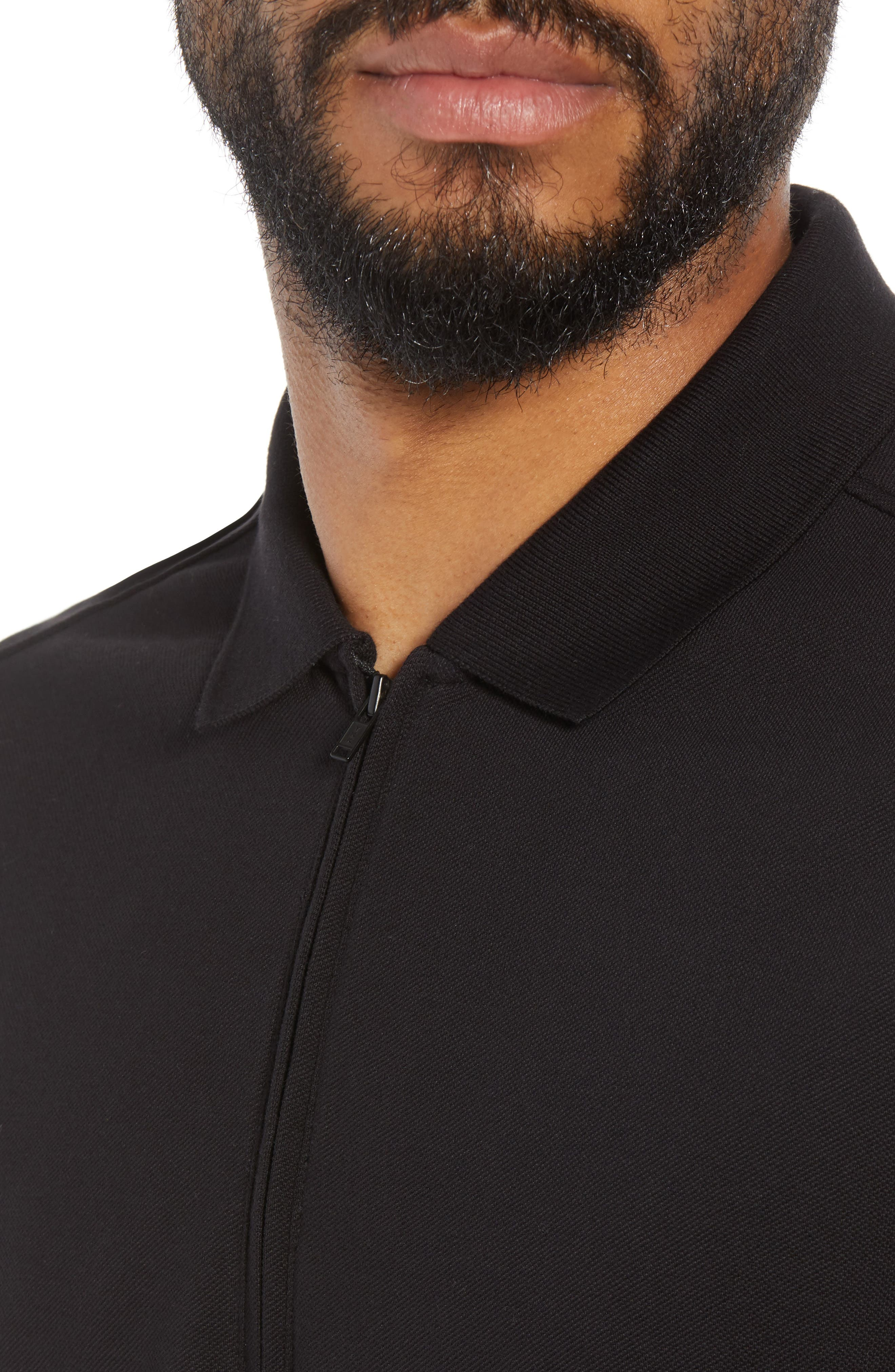 Trim Fit Zip Polo,                             Alternate thumbnail 4, color,                             001