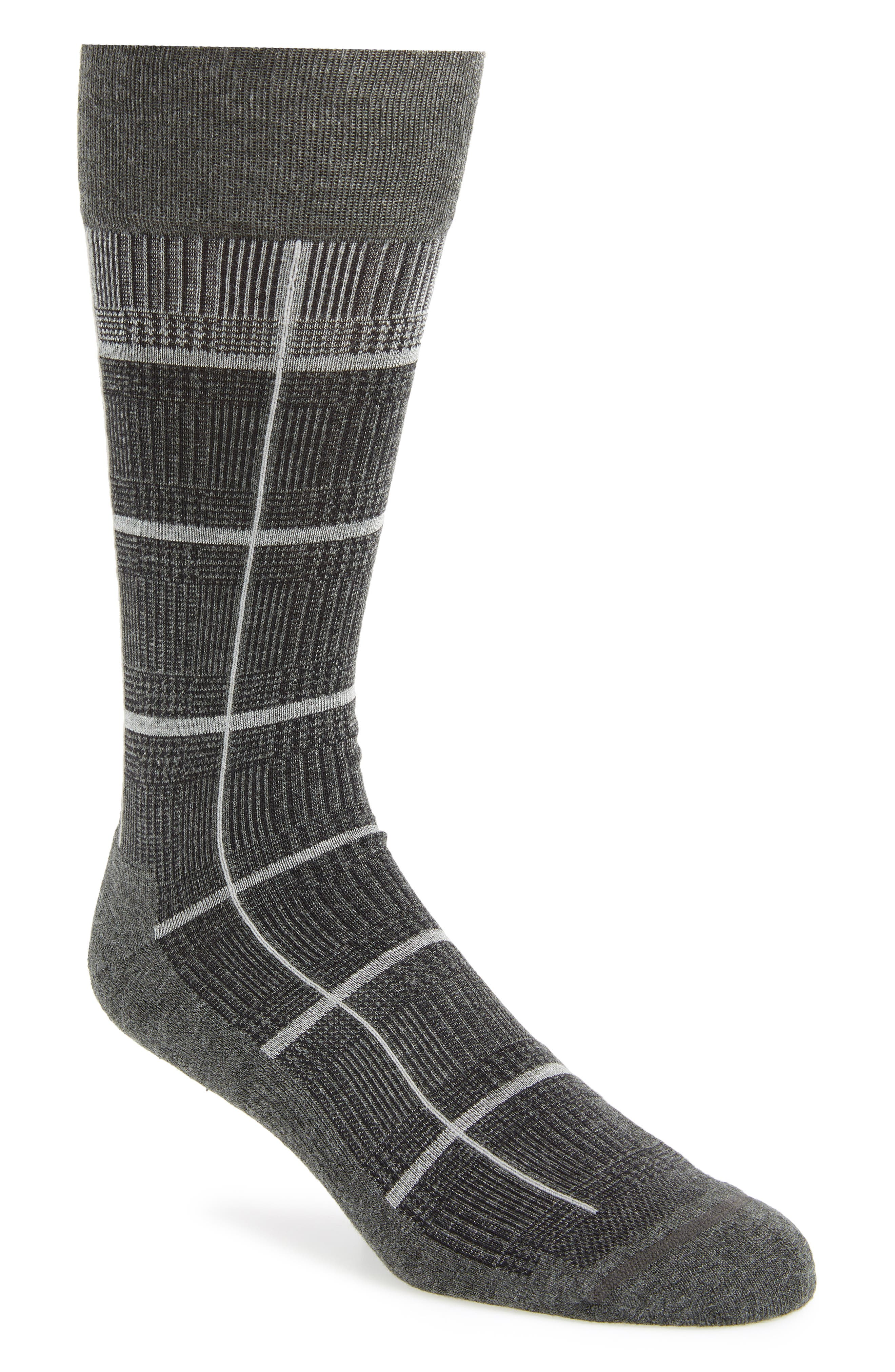 Glen Plaid Socks,                         Main,                         color, CHARCOAL HEATHER