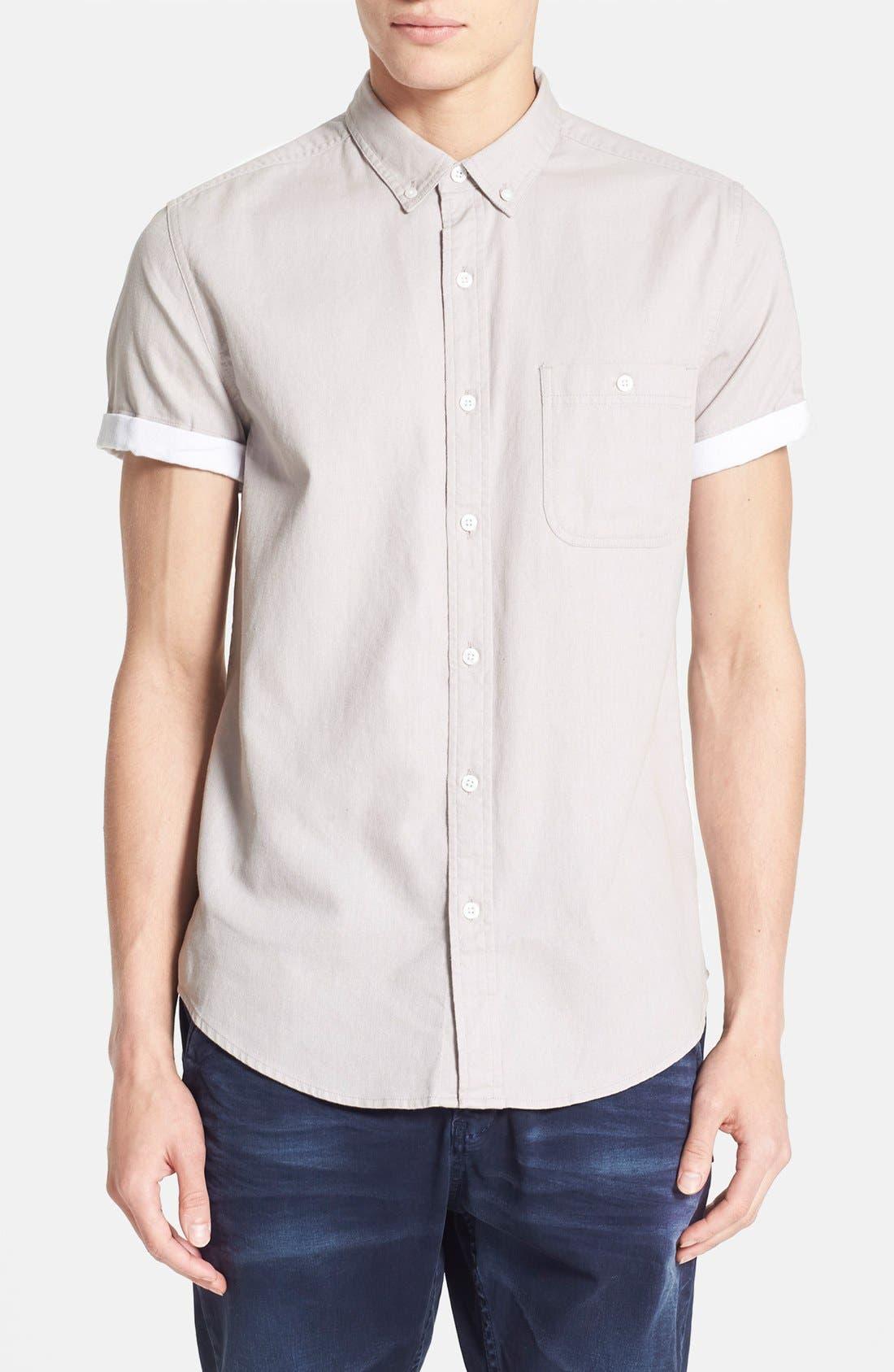 TOPMAN,                             Contrast Trim Short Sleeve Cotton Shirt,                             Main thumbnail 1, color,                             020