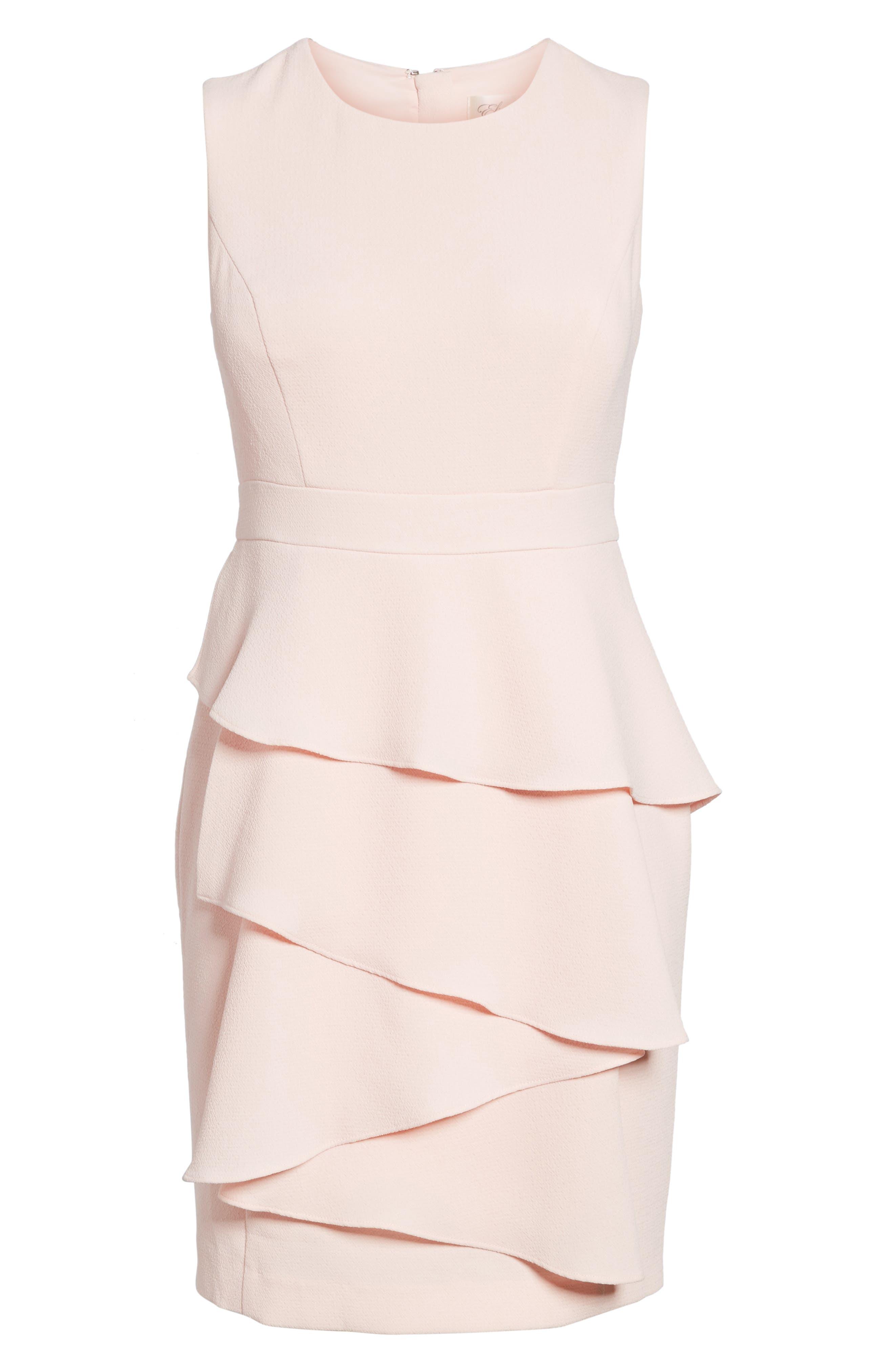 Eliza J Ella Ruffle Cascade Crepe Sheath Dress