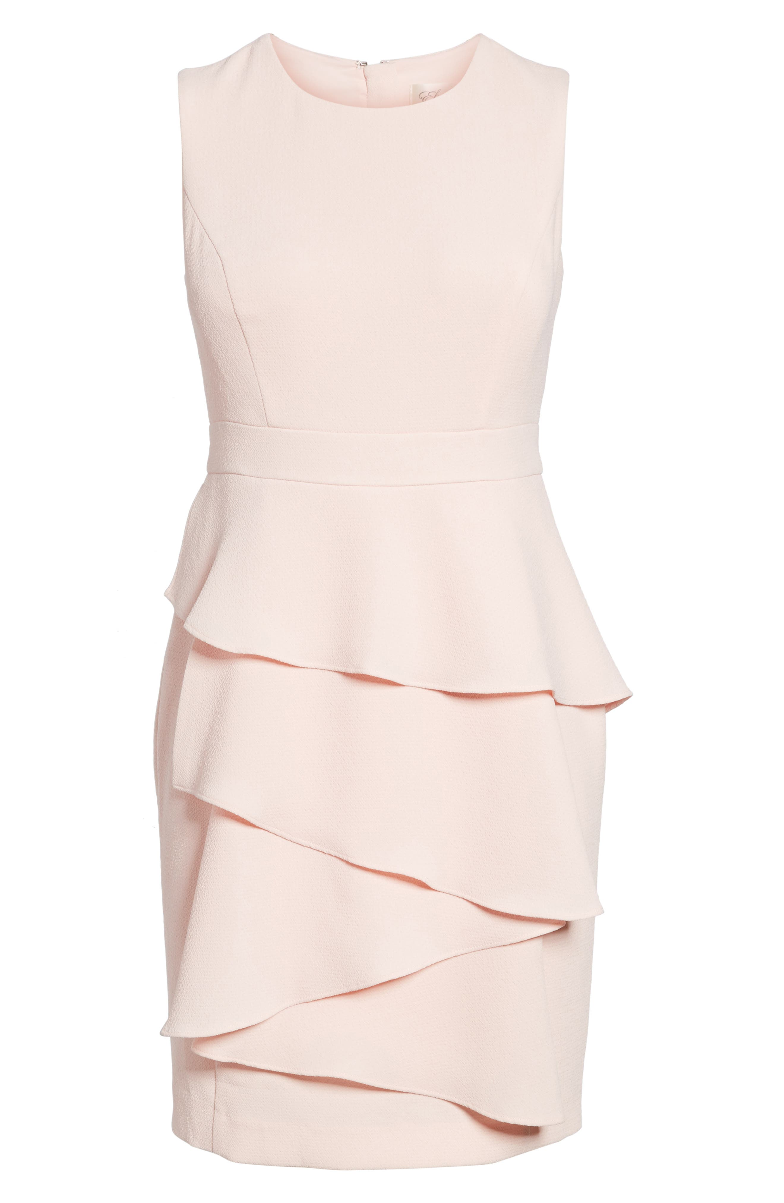 Ella Cascade Crepe Sheath Dress,                         Main,                         color, BLUSH