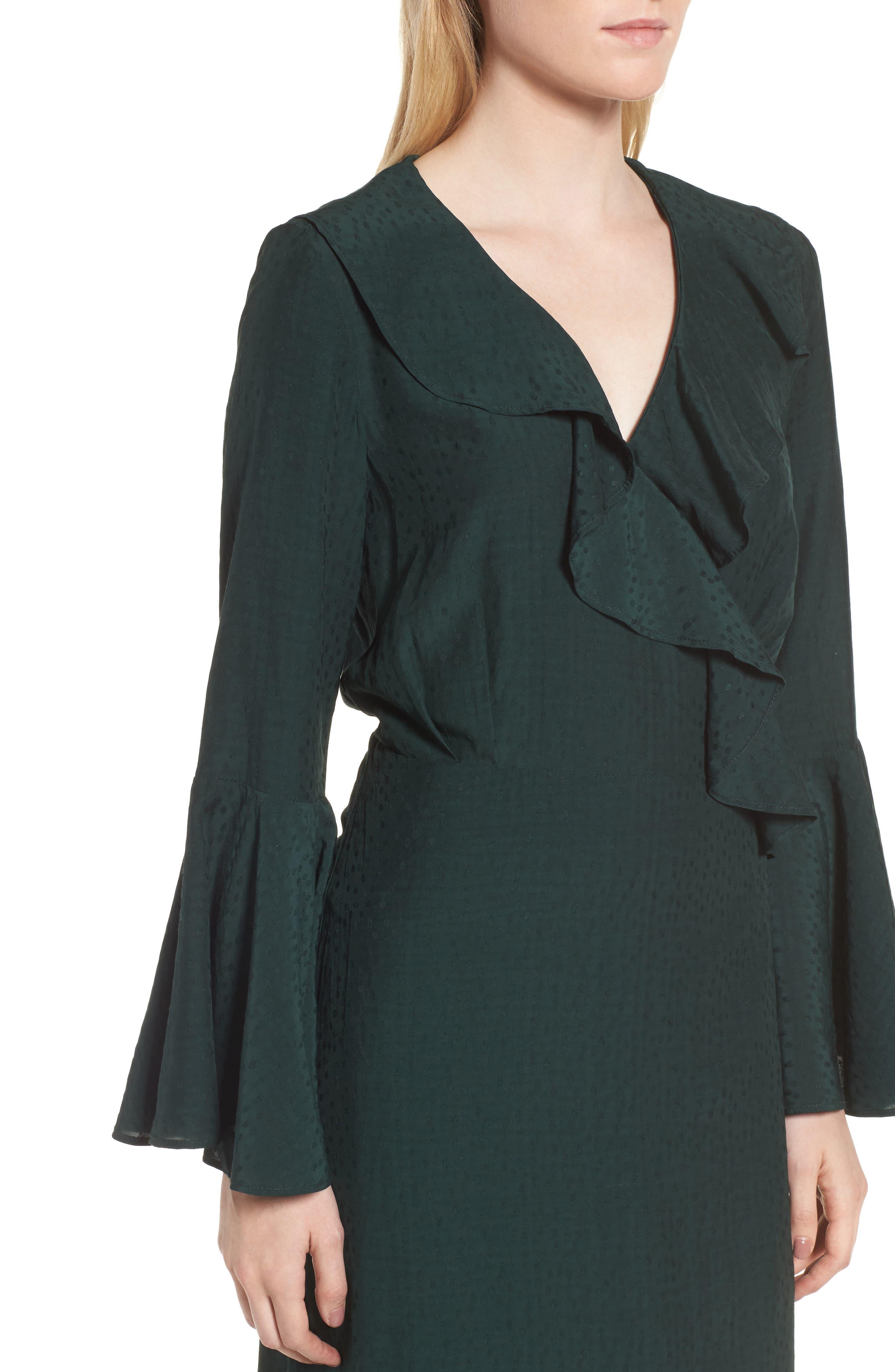 Midi Wrap Dress,                             Alternate thumbnail 4, color,                             301