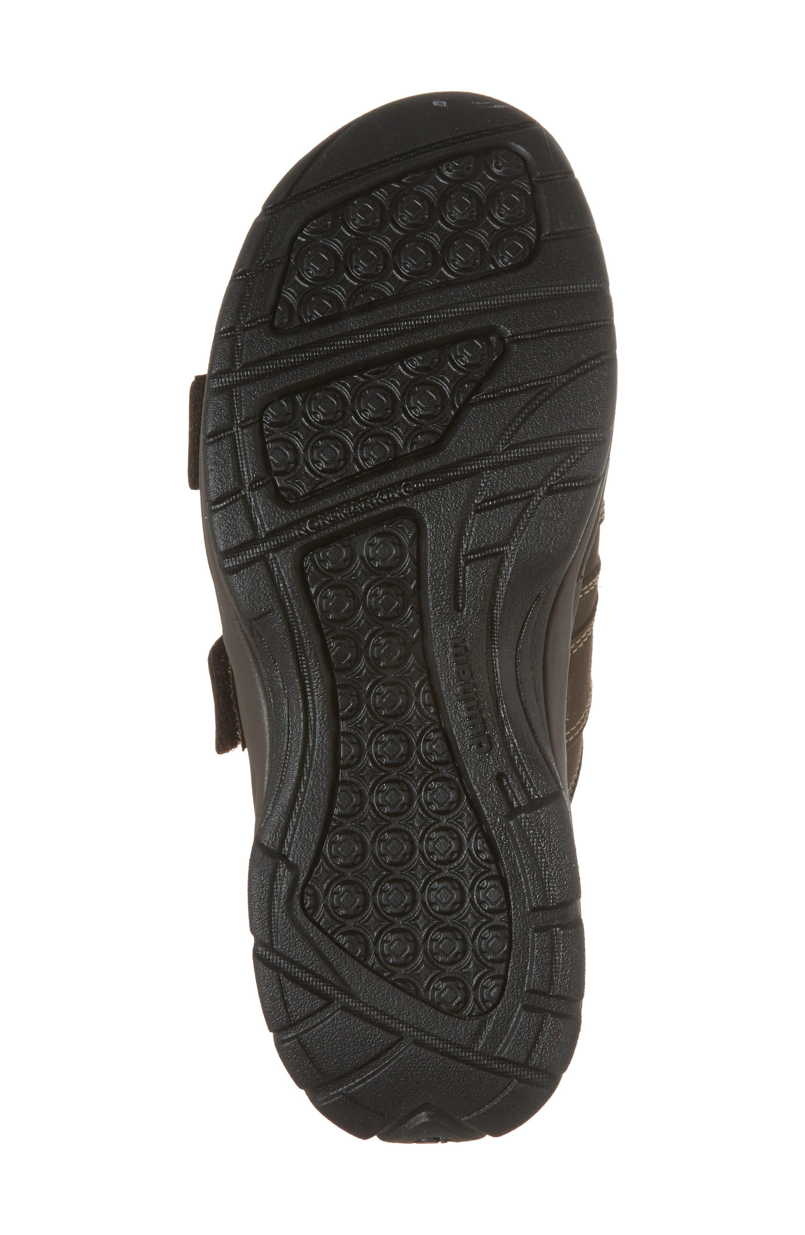 Newport Slide Sandal,                             Alternate thumbnail 6, color,                             DARK BROWN LEATHER