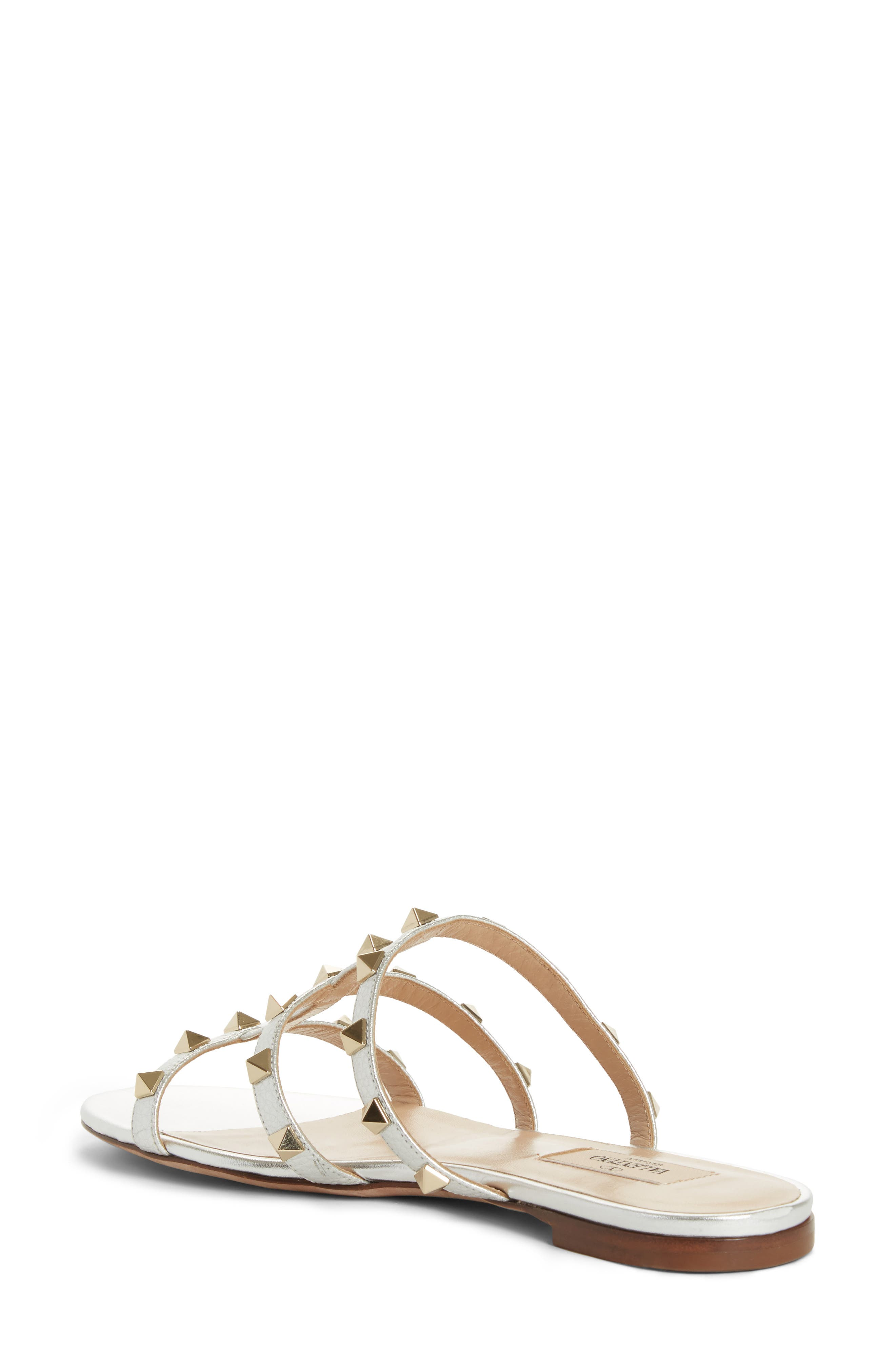 Rockstud Cage Slide Sandal,                             Alternate thumbnail 2, color,                             METALLIC SILVER