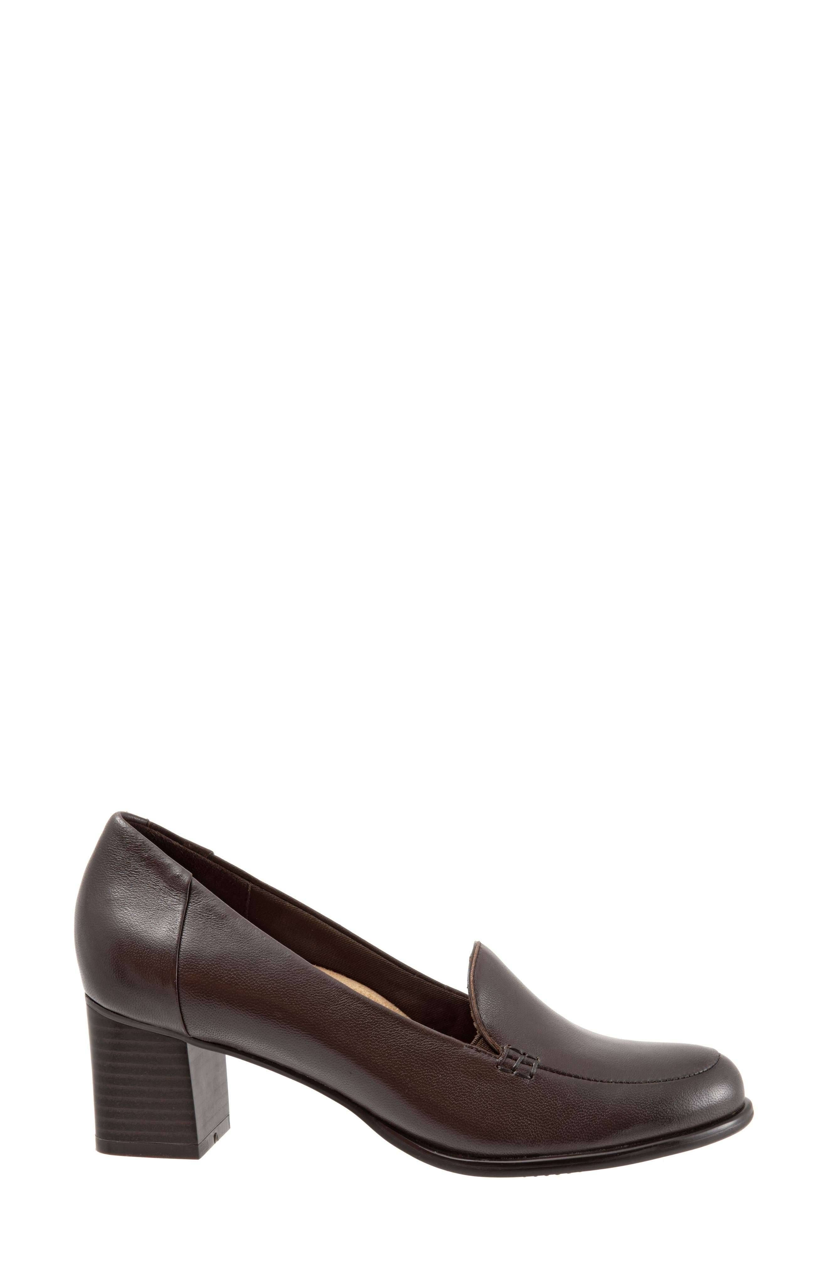 Quincy Loafer Pump,                             Alternate thumbnail 3, color,                             DARK BROWN LEATHER