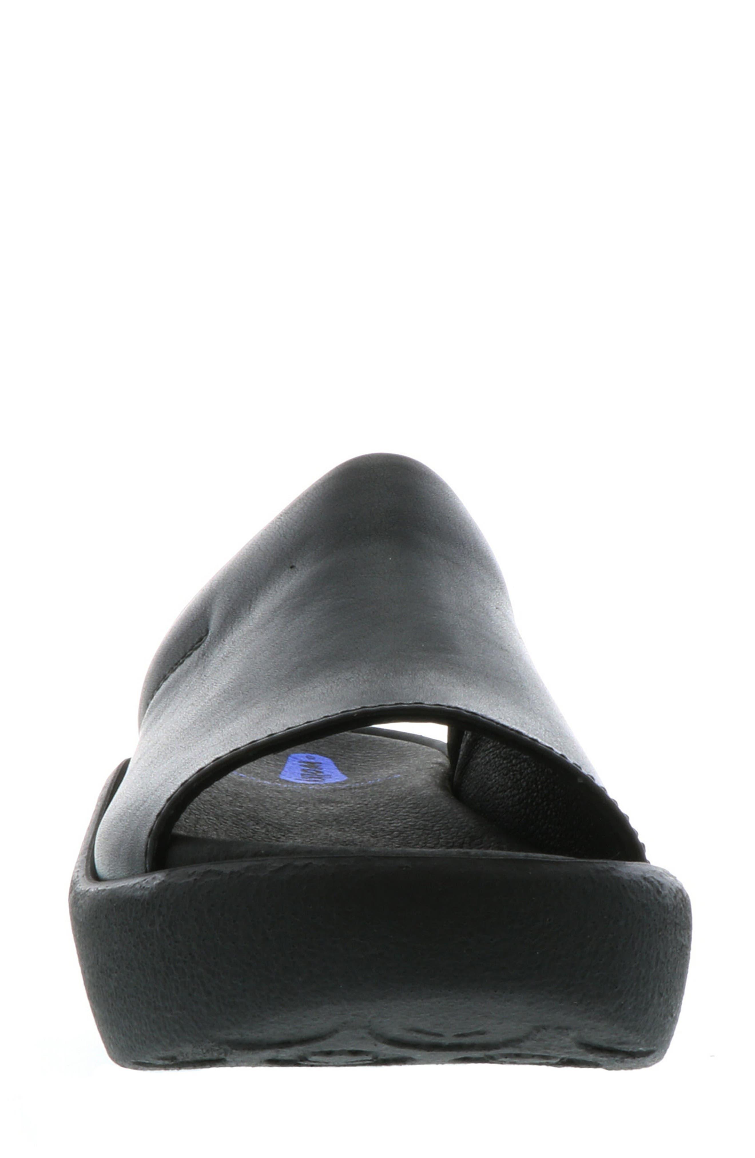 Nassau Slide Sandal,                             Alternate thumbnail 4, color,                             BLACK SMOOTH LEATHER