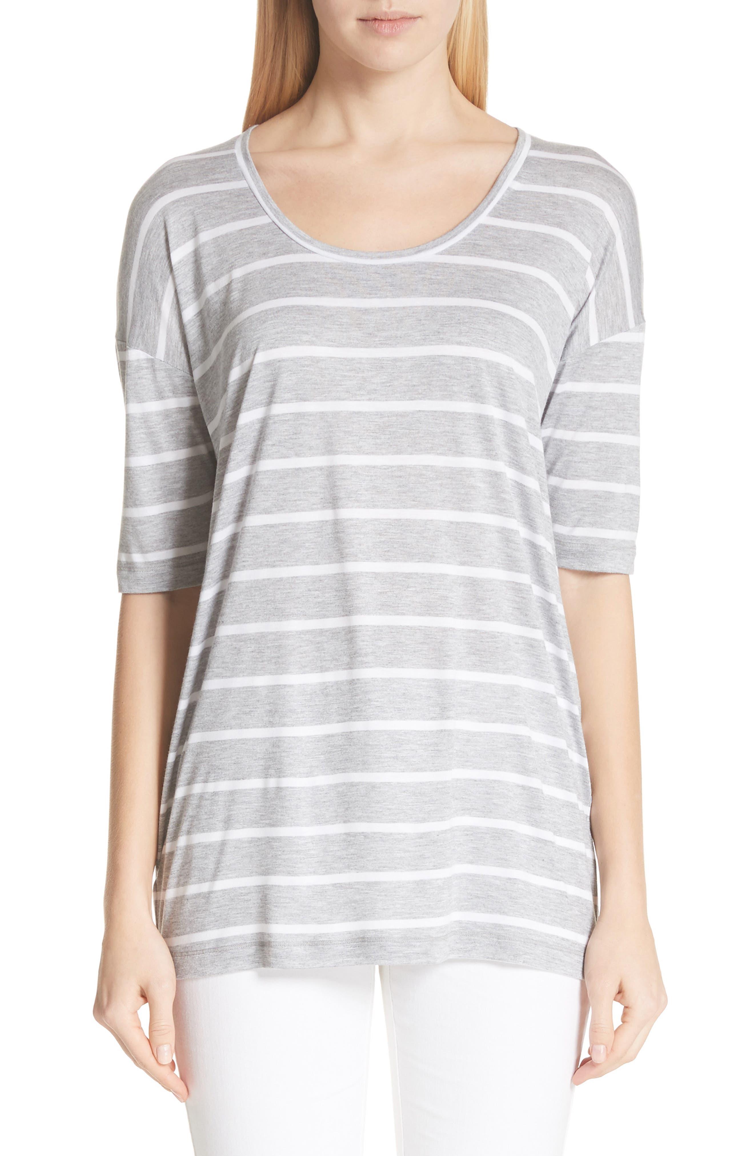 Kristen Stripe Tee,                         Main,                         color, GREY HEATHER/ WHITE
