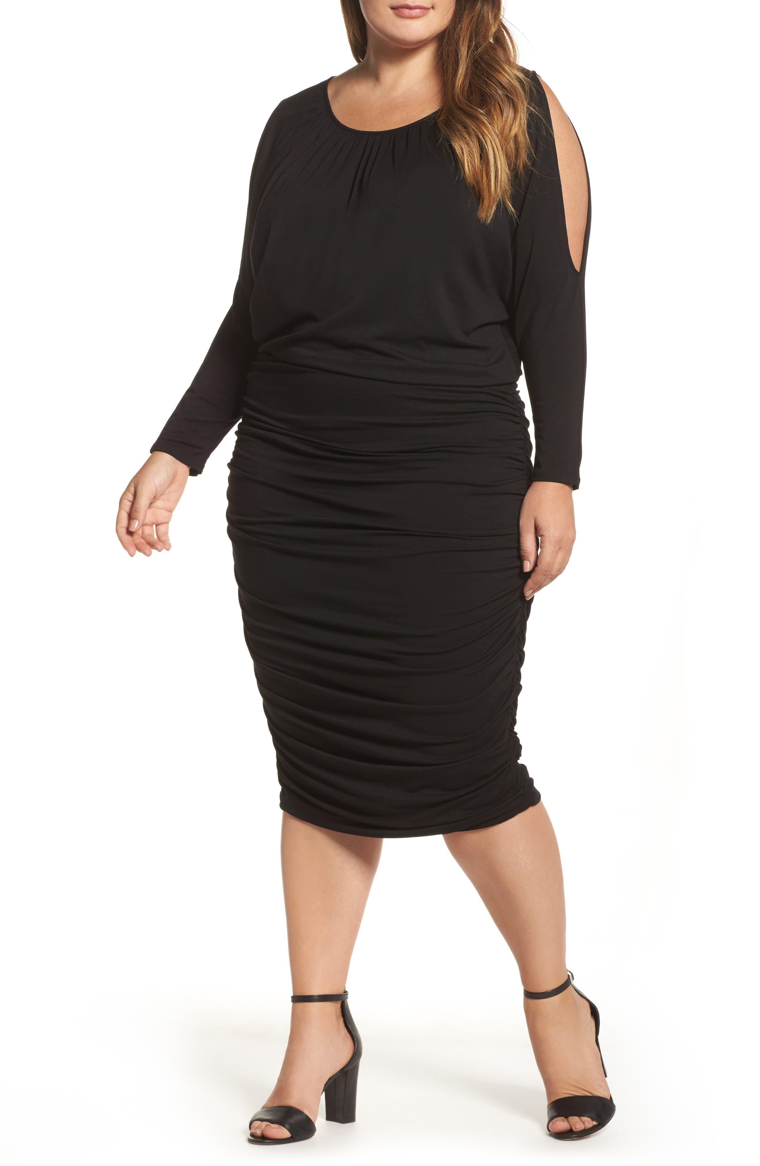 Slit Sleeve Knit Sheath Dress,                             Main thumbnail 1, color,                             010