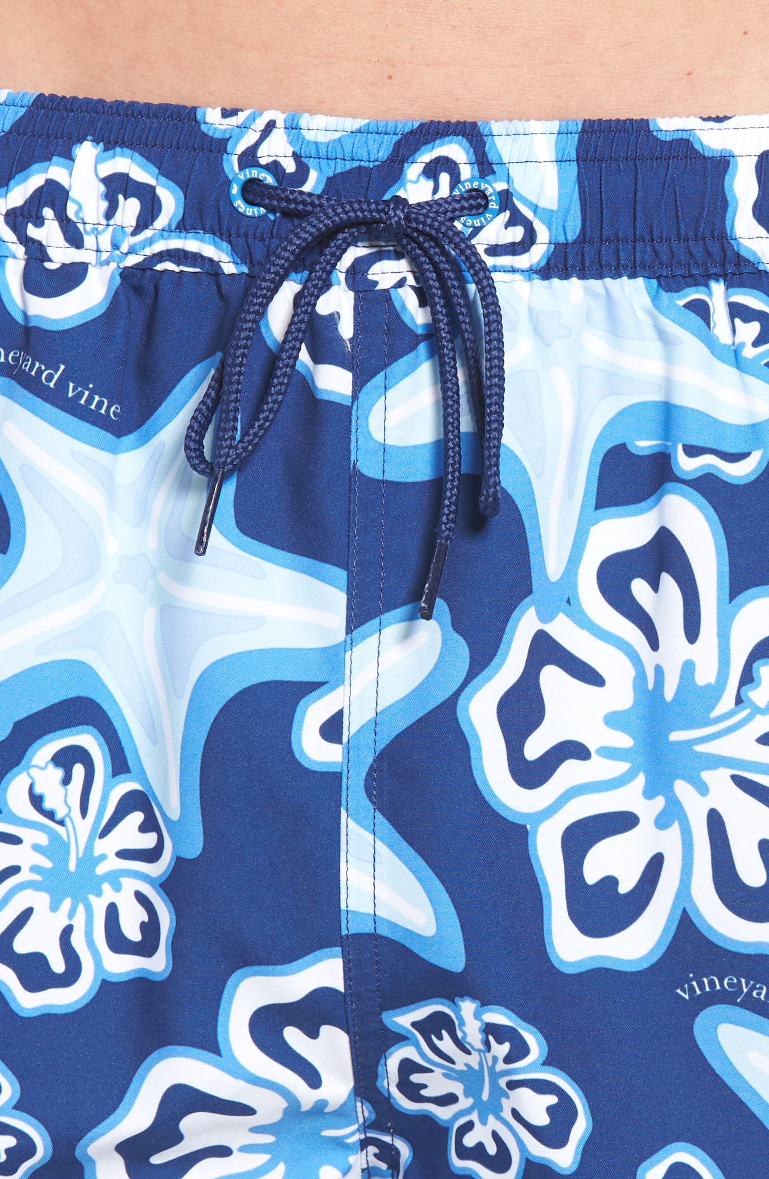Chappy Starfish Swim Trunks,                             Alternate thumbnail 4, color,                             BLUE DEPTH