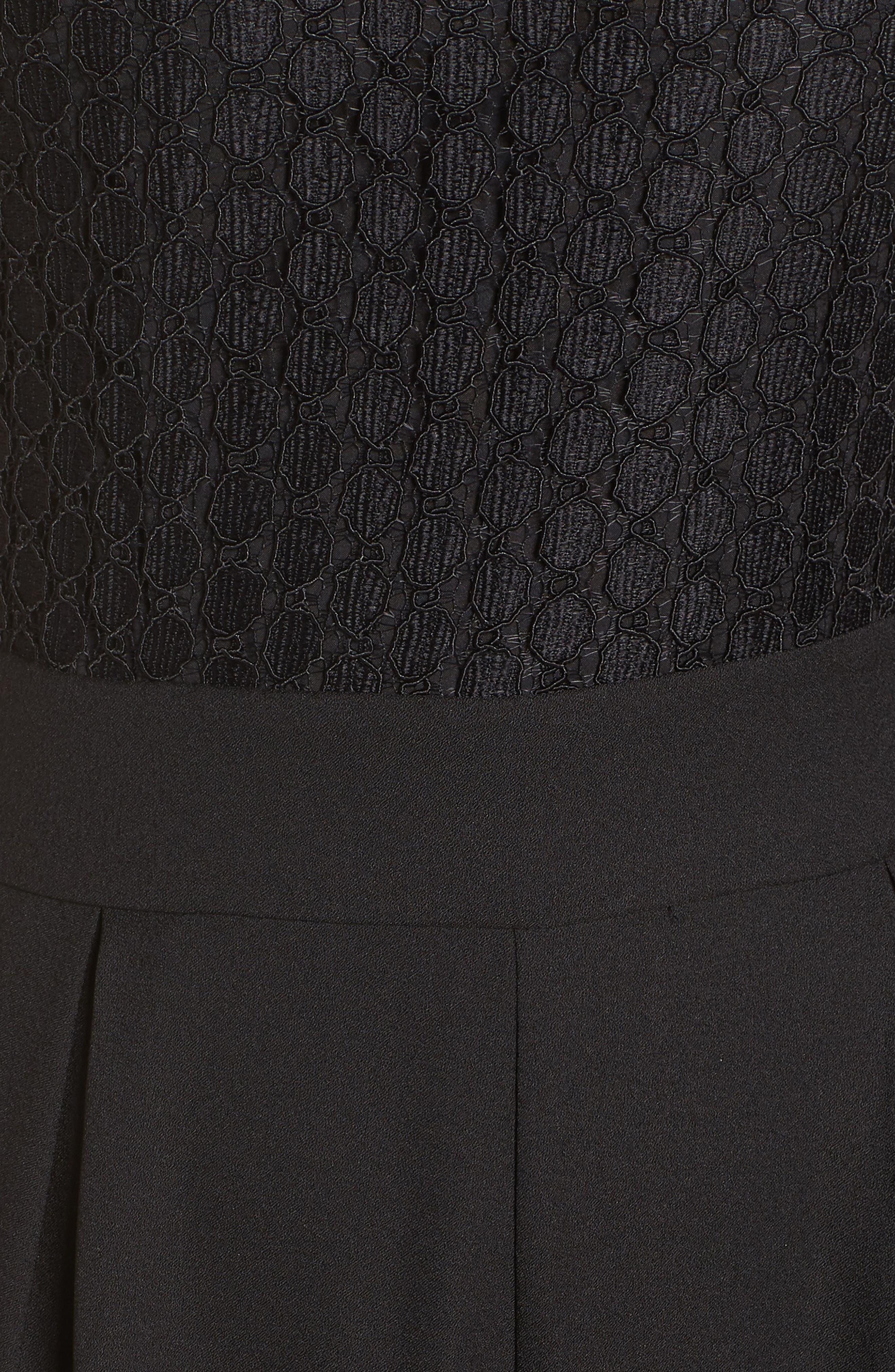Lace Cropped Jumpsuit,                             Alternate thumbnail 6, color,                             BLACK