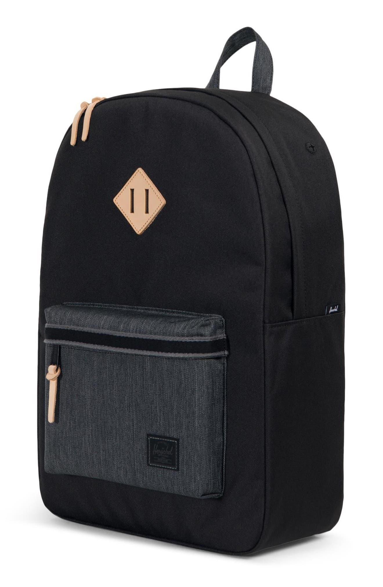 Heritage Offset Denim Backpack,                             Alternate thumbnail 4, color,                             BLACK/ BLACK DENIM