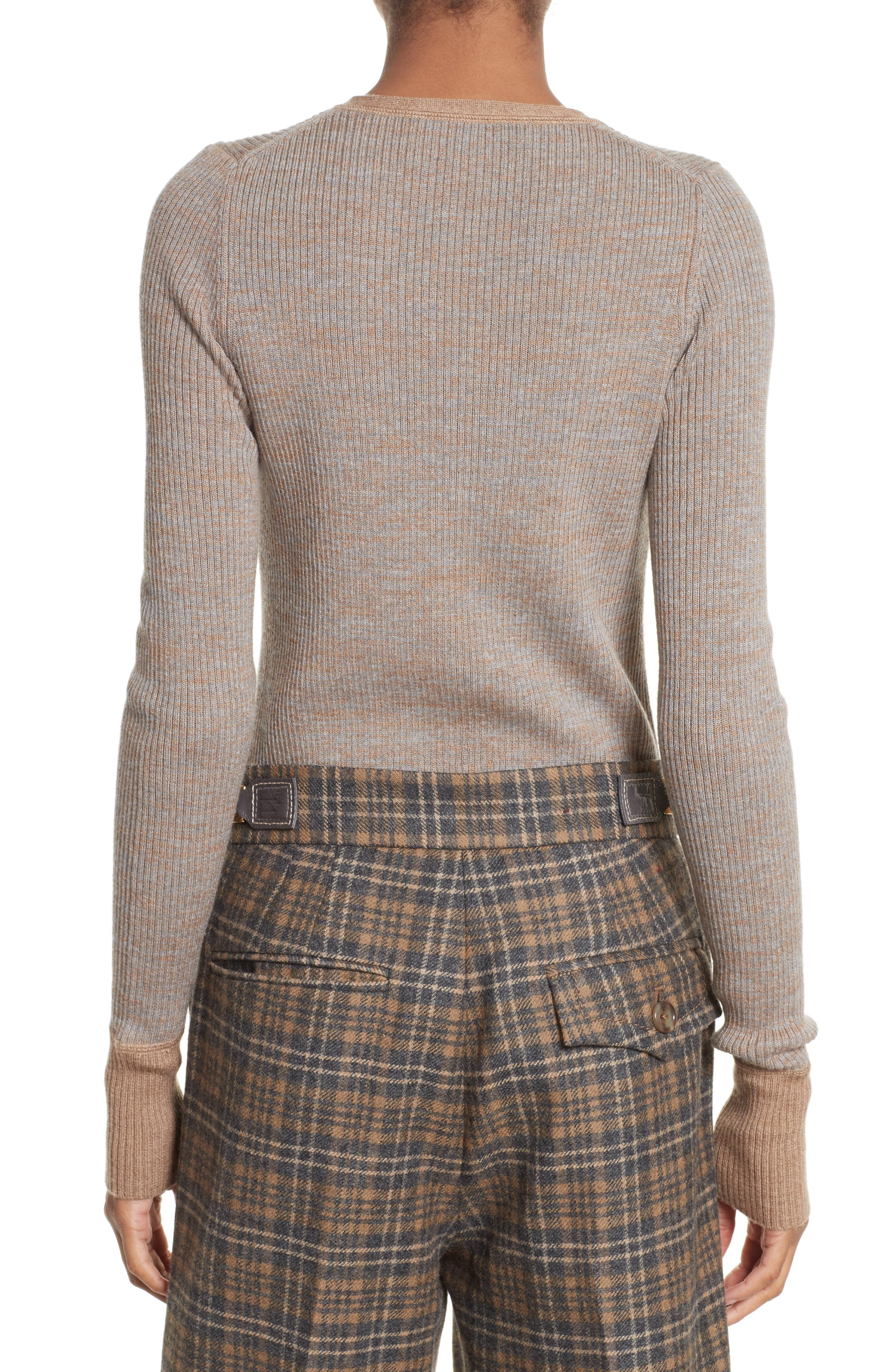 Ribbed V-Neck Wool Sweater,                             Alternate thumbnail 2, color,                             208