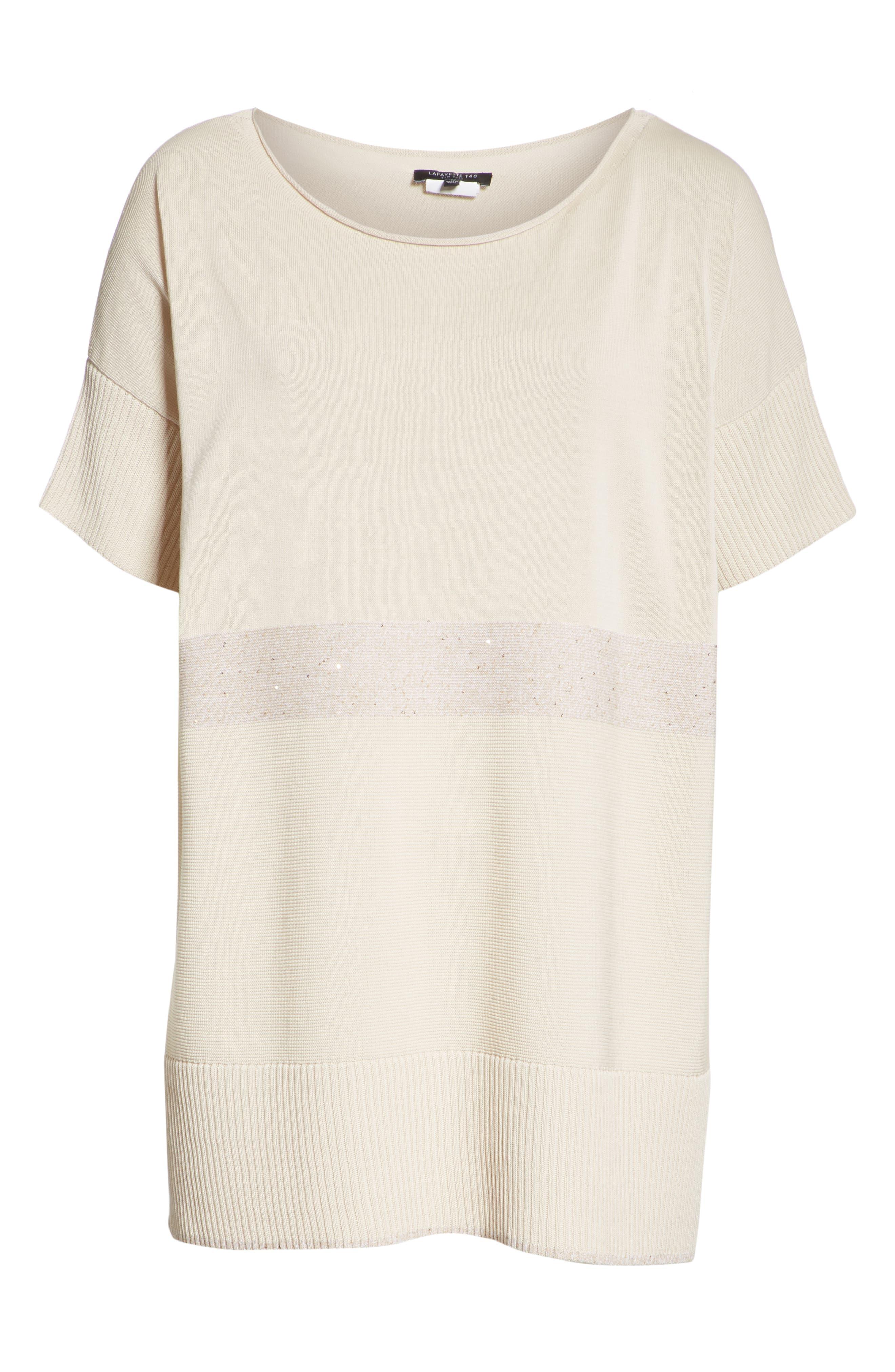 Cotton Crepe Yarn Sequin Stripe Sweater,                             Alternate thumbnail 6, color,                             RAFFIA MULTI