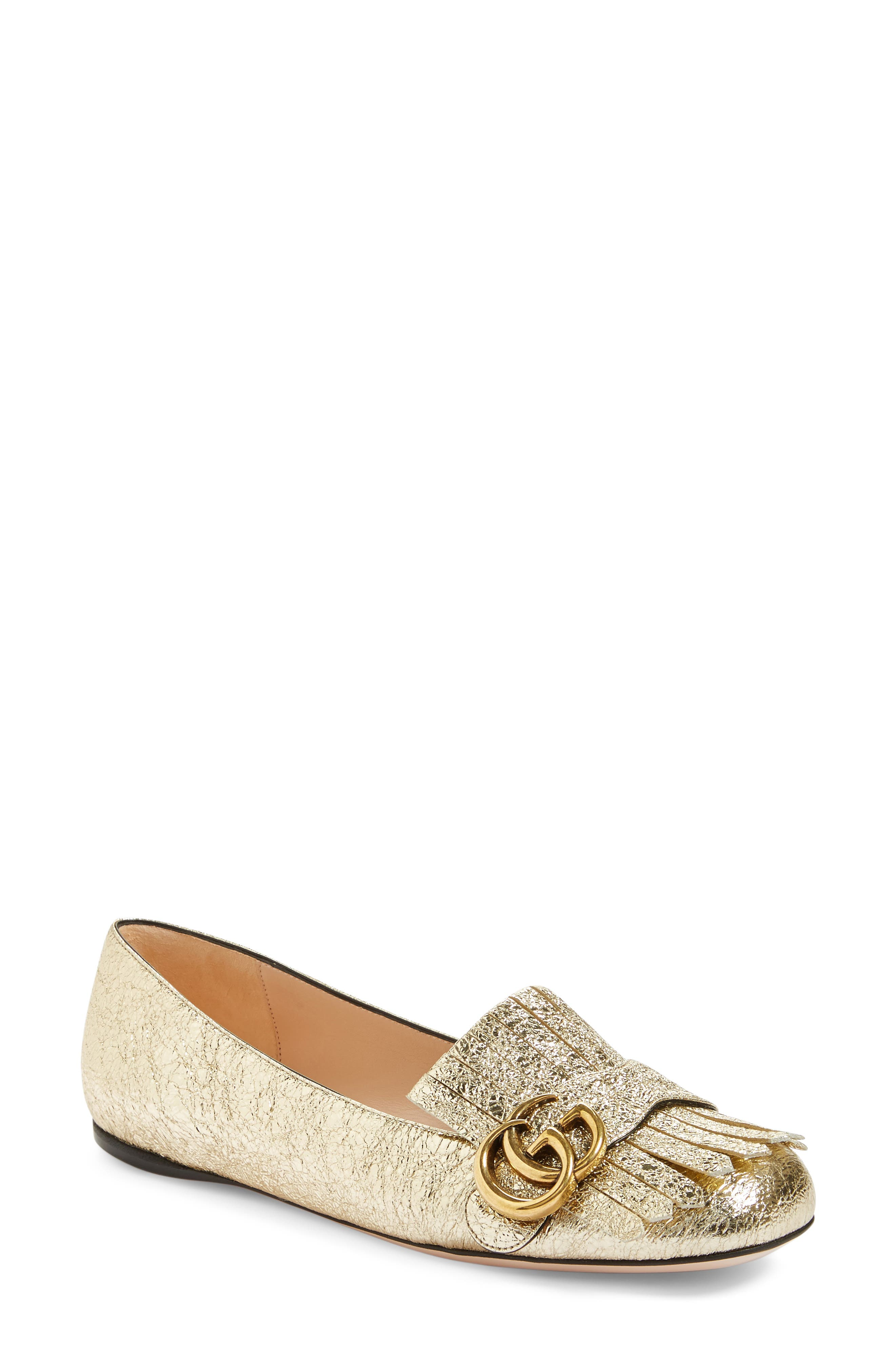 GG Marmont Flat,                             Main thumbnail 1, color,                             GOLD LEATHER