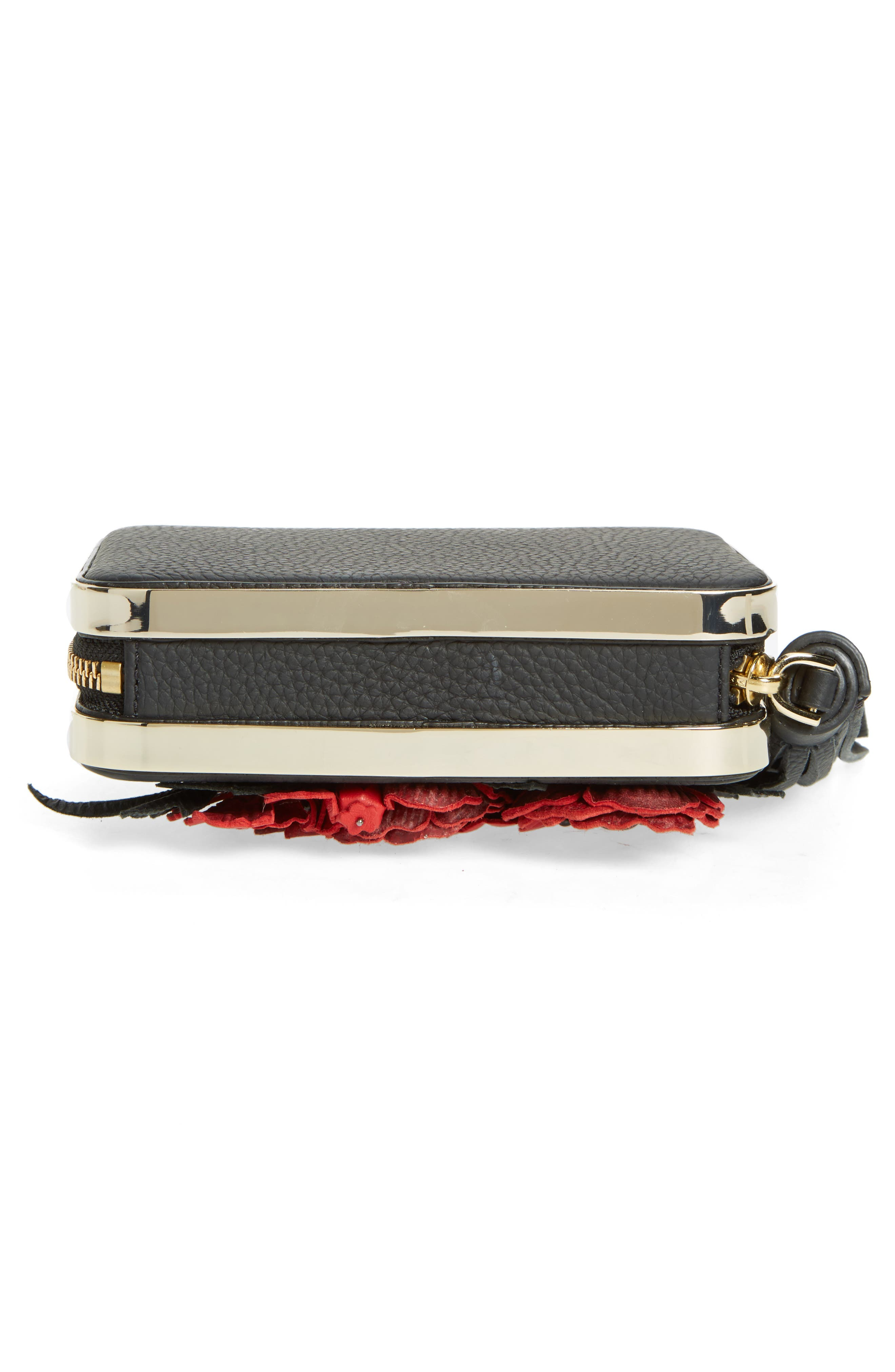 madison evening belles zurie leather frame clutch,                             Alternate thumbnail 6, color,                             001