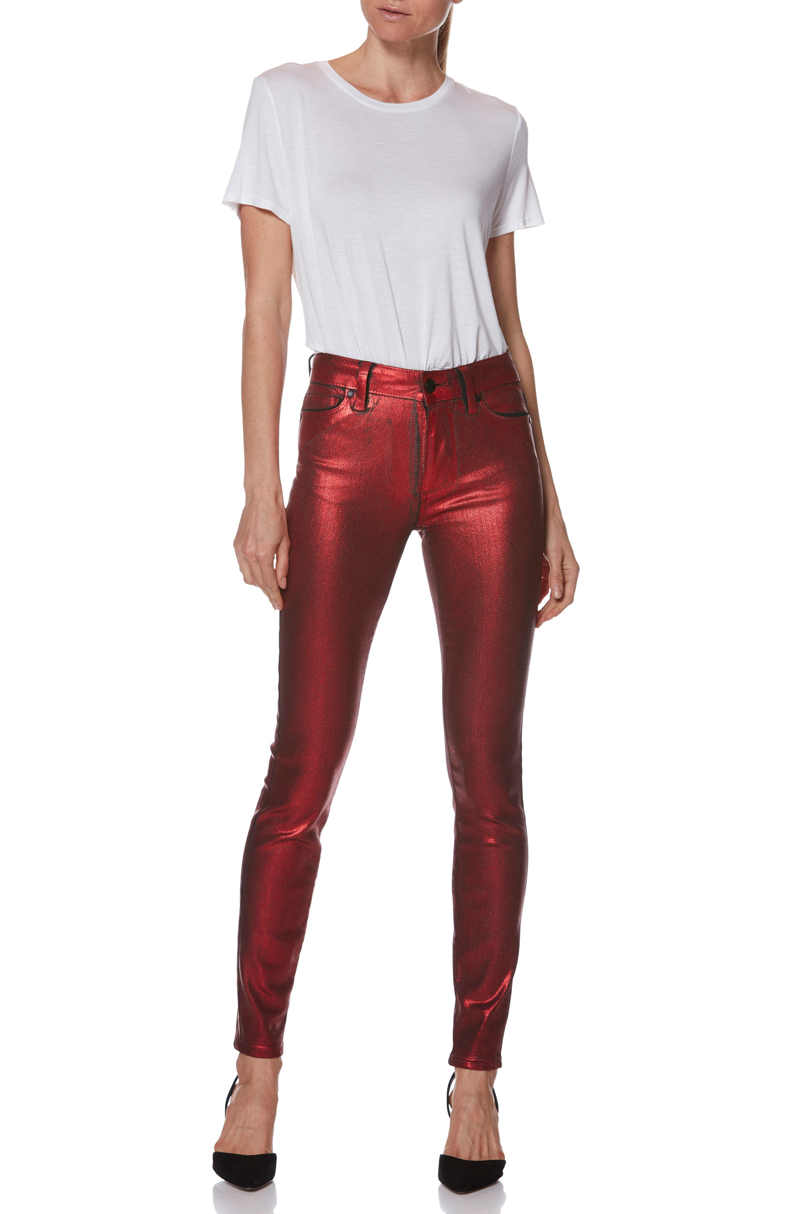 Hoxton High Waist Ultra Skinny Jeans,                             Alternate thumbnail 5, color,                             RED GALAXY COATING