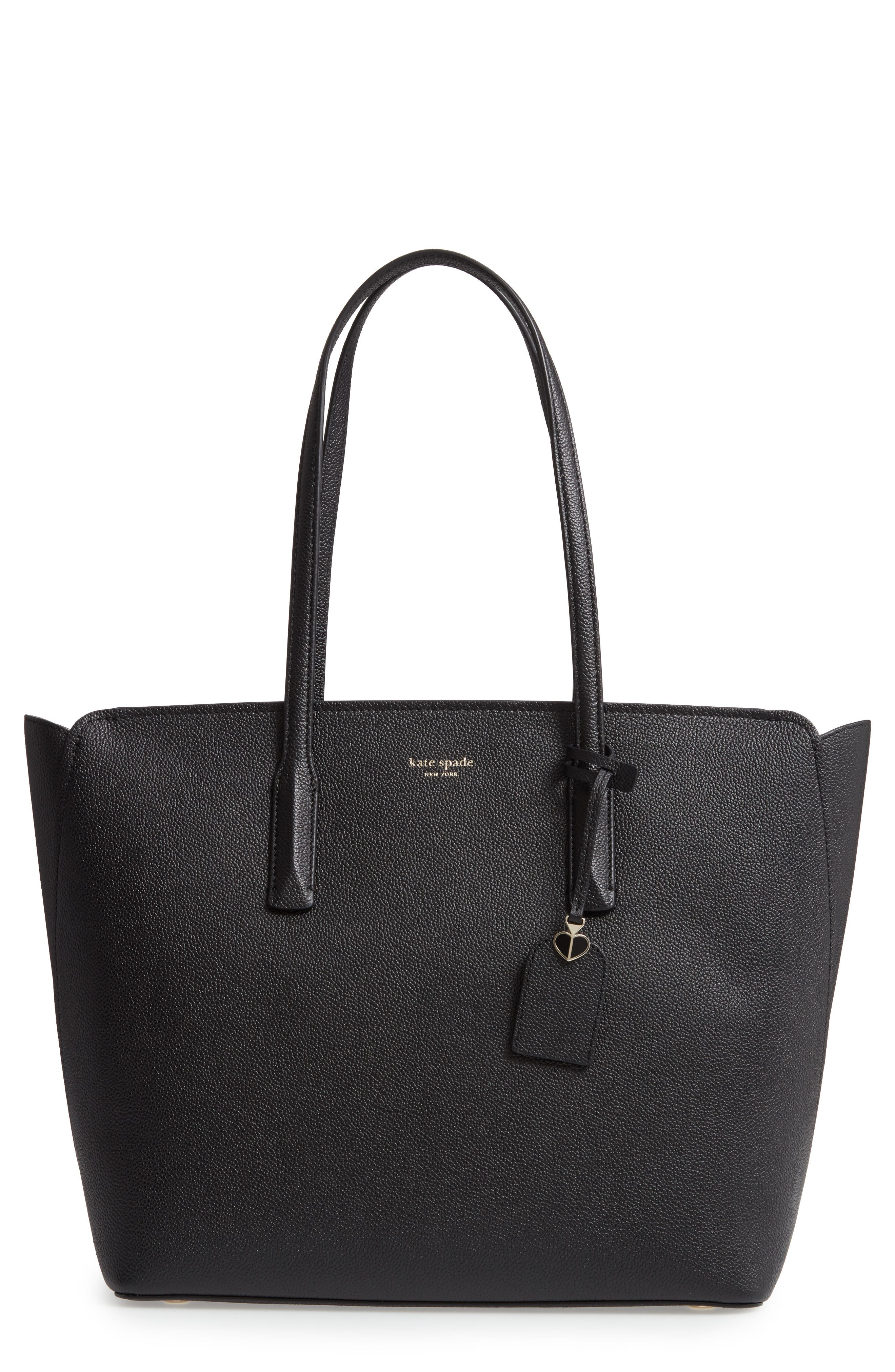large margaux leather tote, Main, color, BLACK