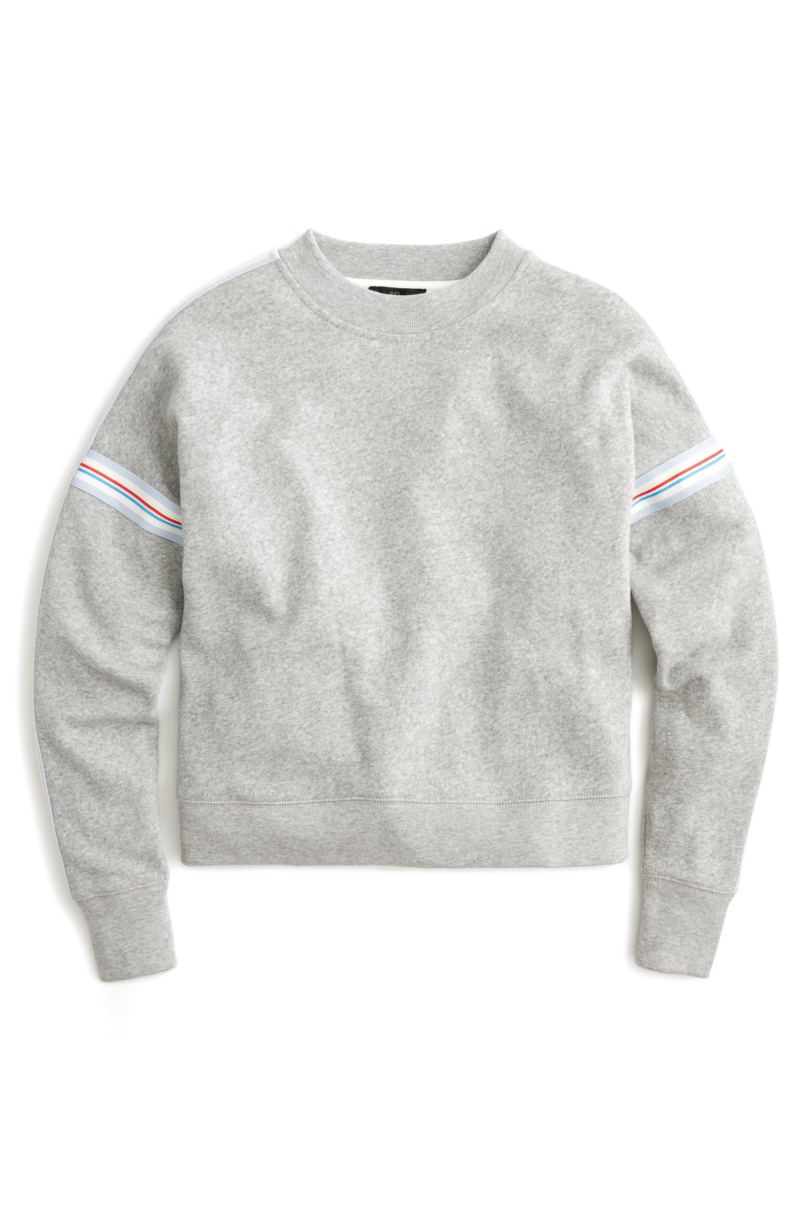 J.crew Racing Stripes Crop Crewneck Sweatshirt