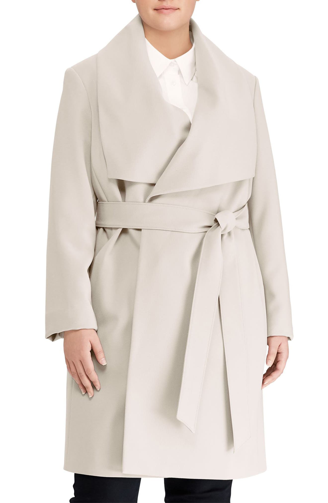Belted Drape Front Coat,                             Main thumbnail 1, color,                             288