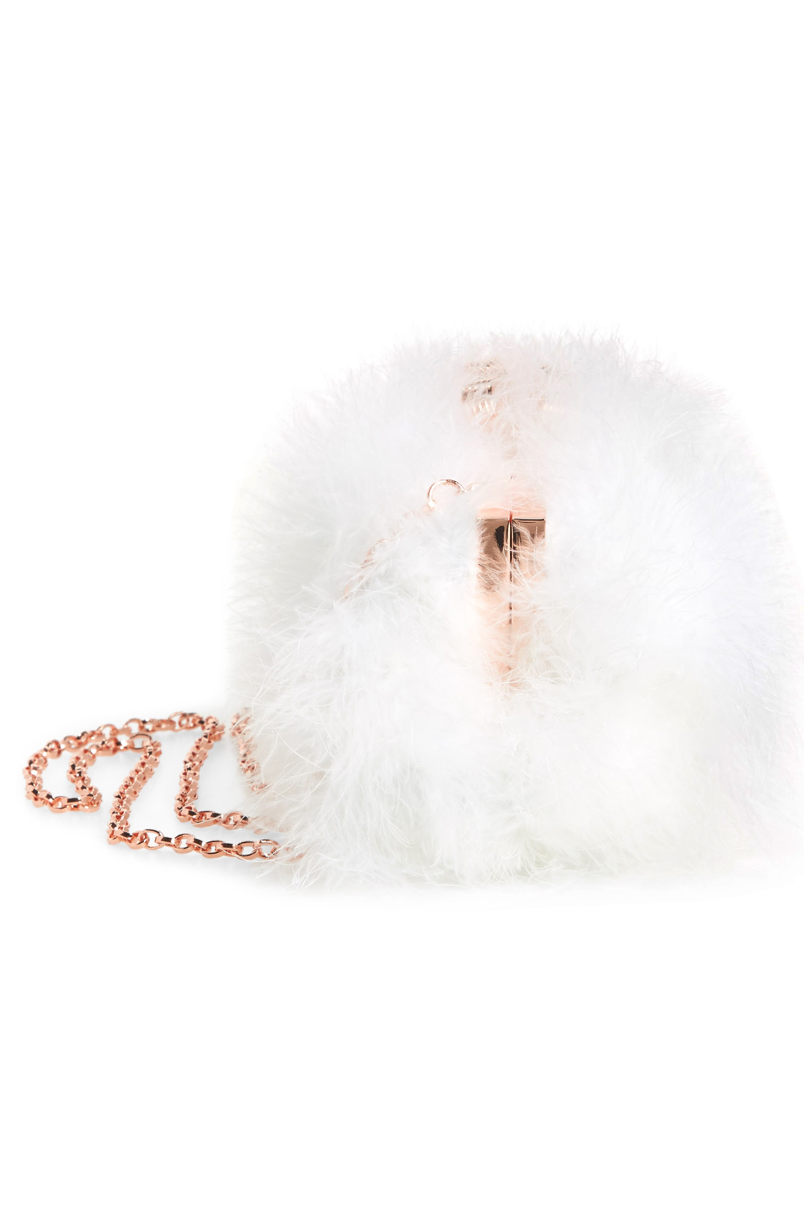 Loop Bow Feather Evening Bag,                             Alternate thumbnail 5, color,                             115