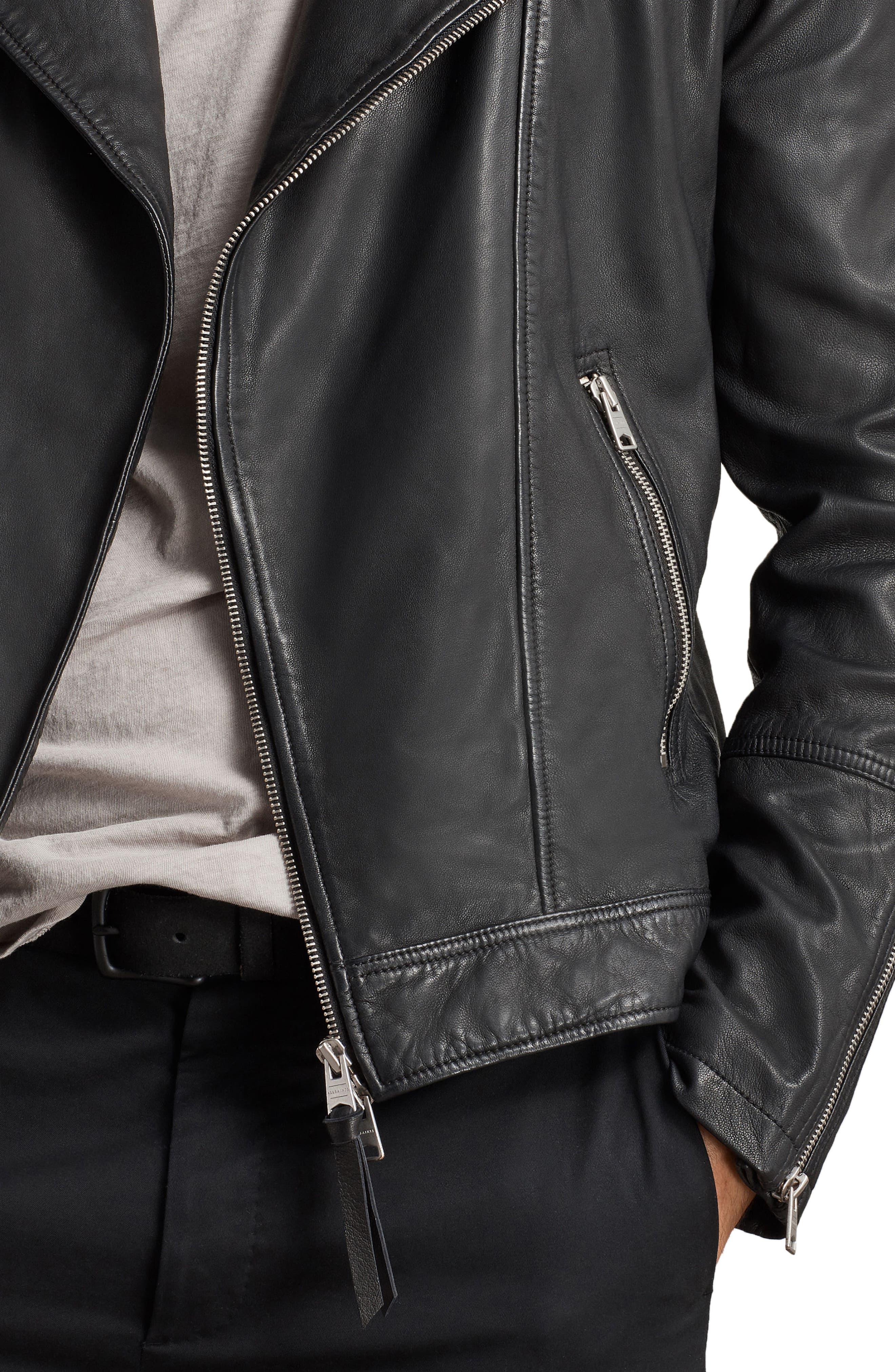 Taro Slim Fit Leather Biker Jacket,                             Alternate thumbnail 5, color,                             001