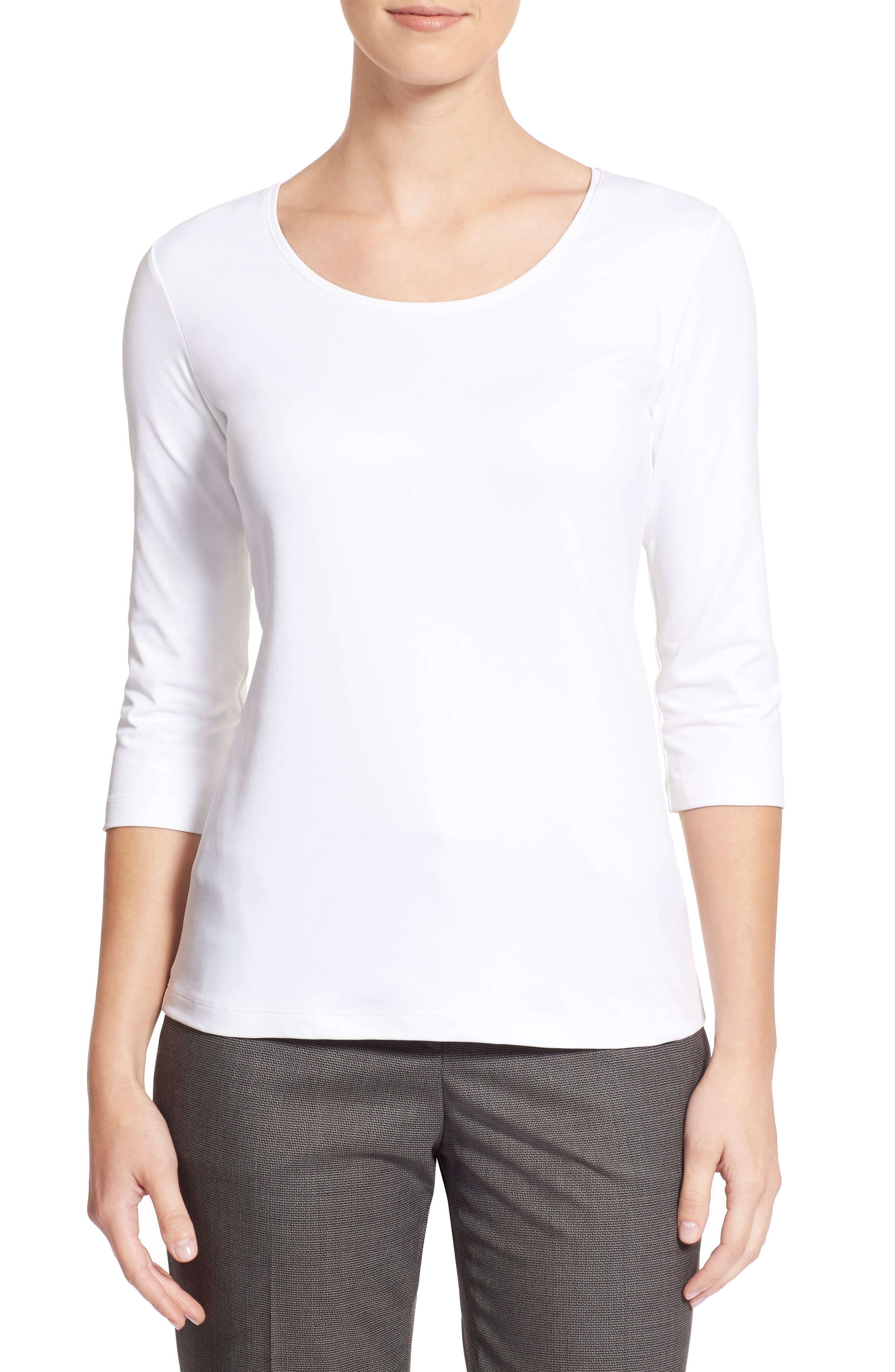 BOSS,                             Scoop Neck Stretch Jersey Top,                             Alternate thumbnail 7, color,                             VANILLA