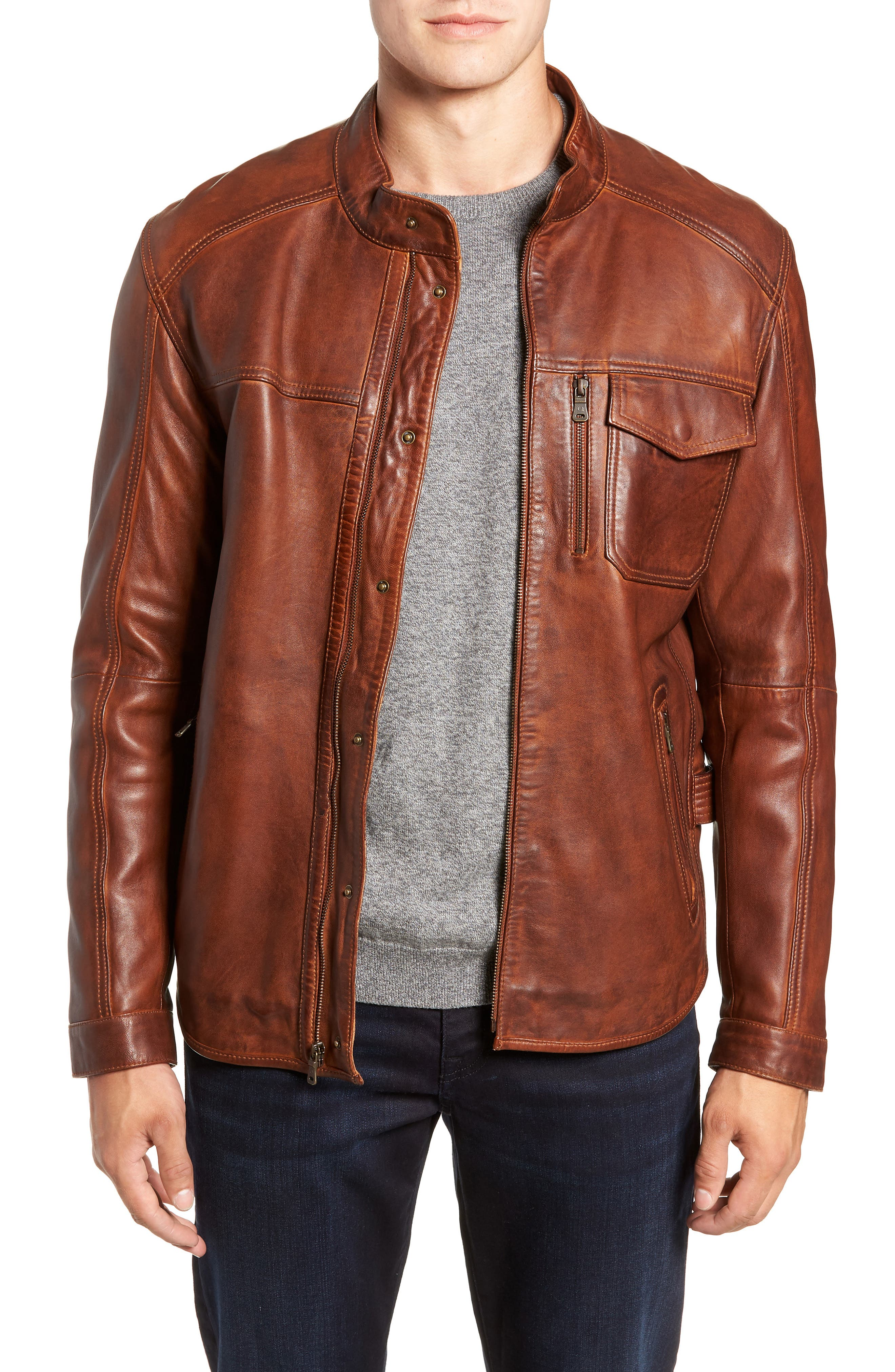 Leather Jacket,                             Main thumbnail 1, color,                             BROWN