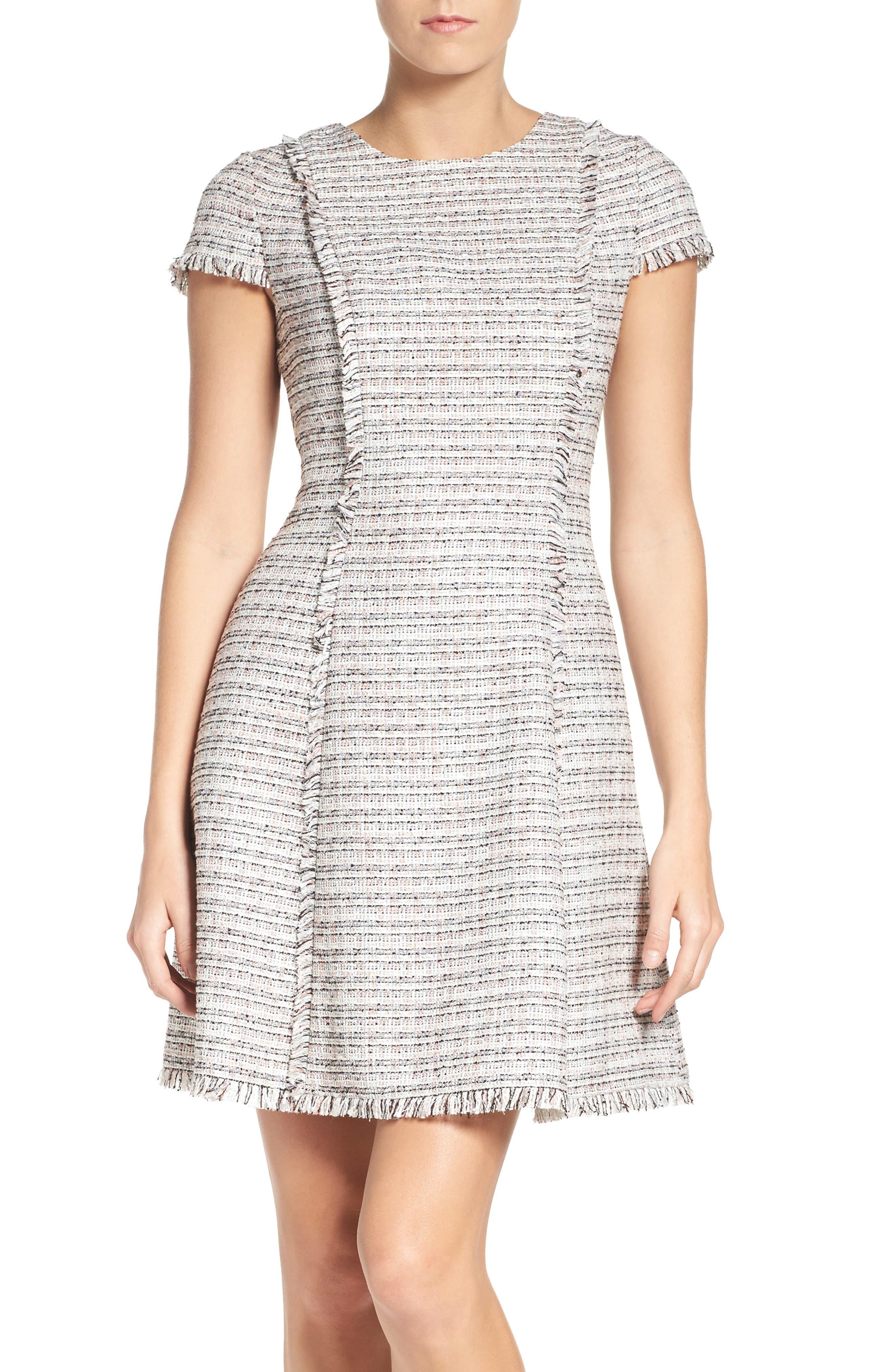 Tweed Fit & Flare Dress,                             Main thumbnail 1, color,                             070