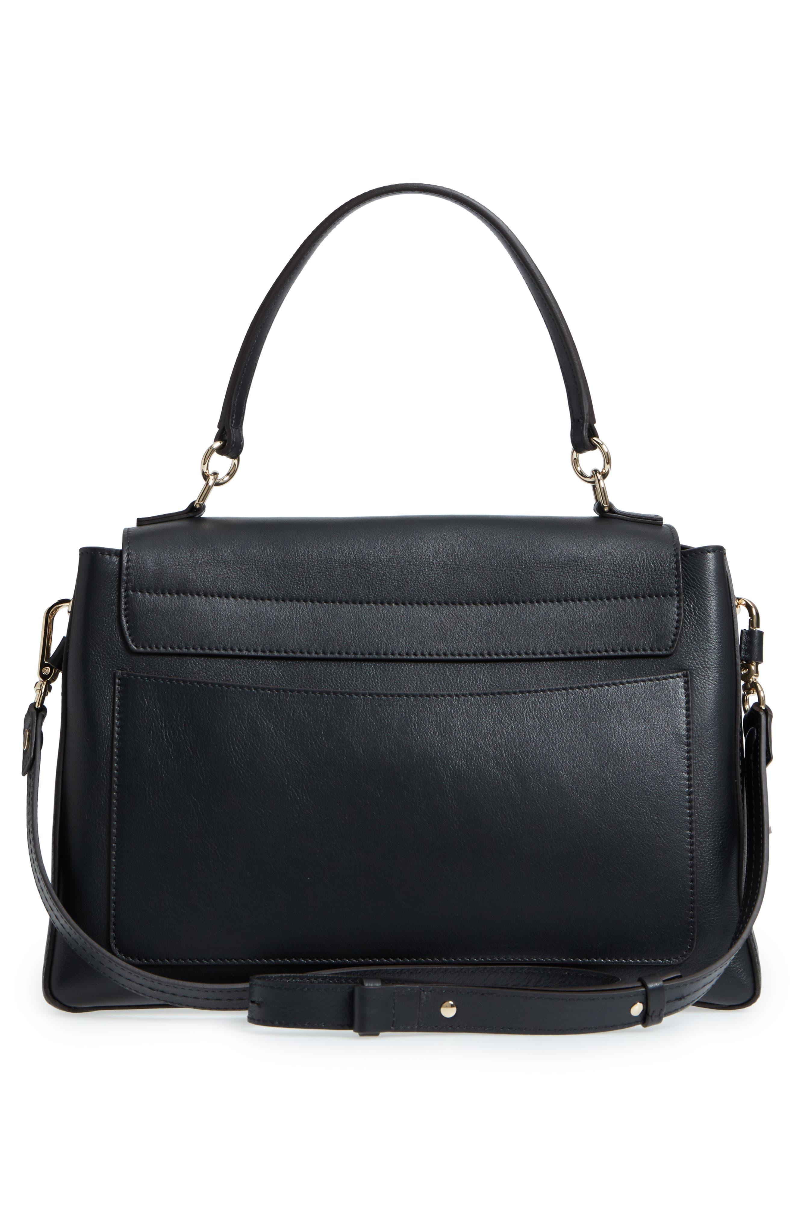 Medium Faye Leather Shoulder Bag,                             Alternate thumbnail 5, color,                             BLACK