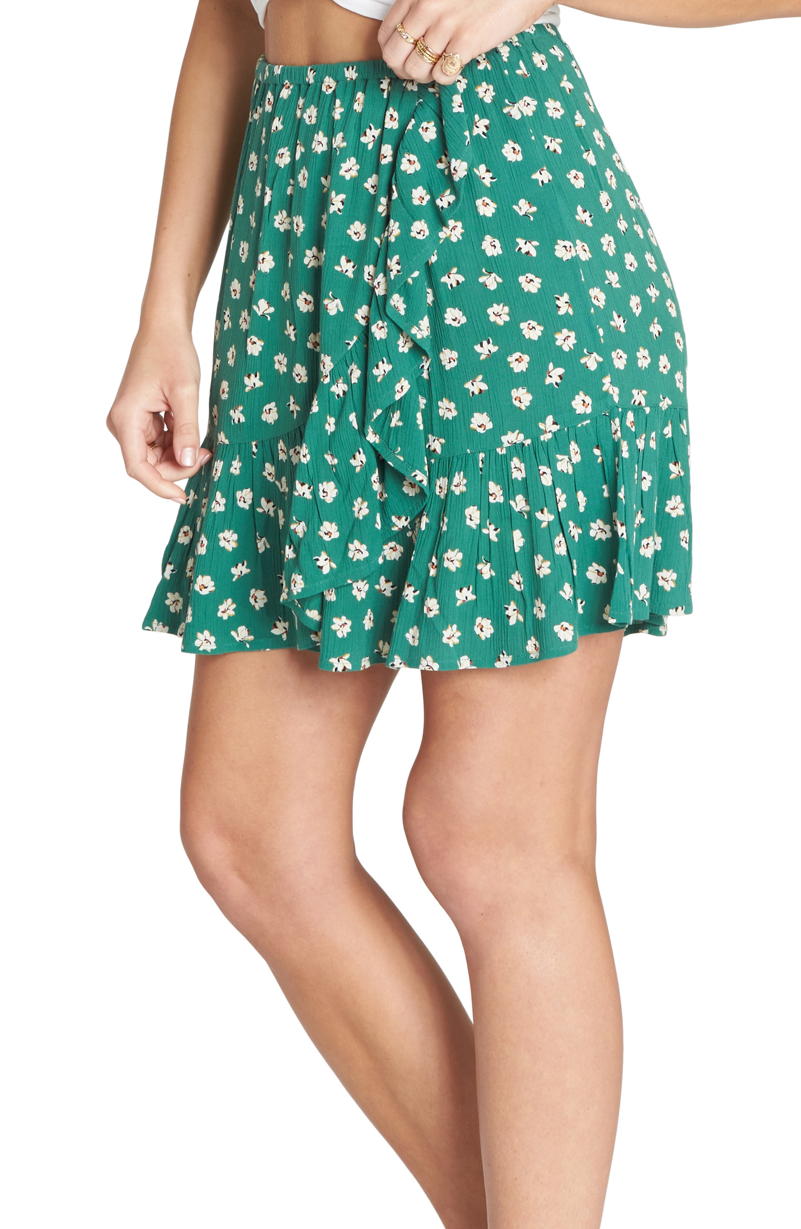 BILLABONG,                             For the Ride Floral Print Faux Wrap Skirt,                             Alternate thumbnail 3, color,                             ISLAND GREEN
