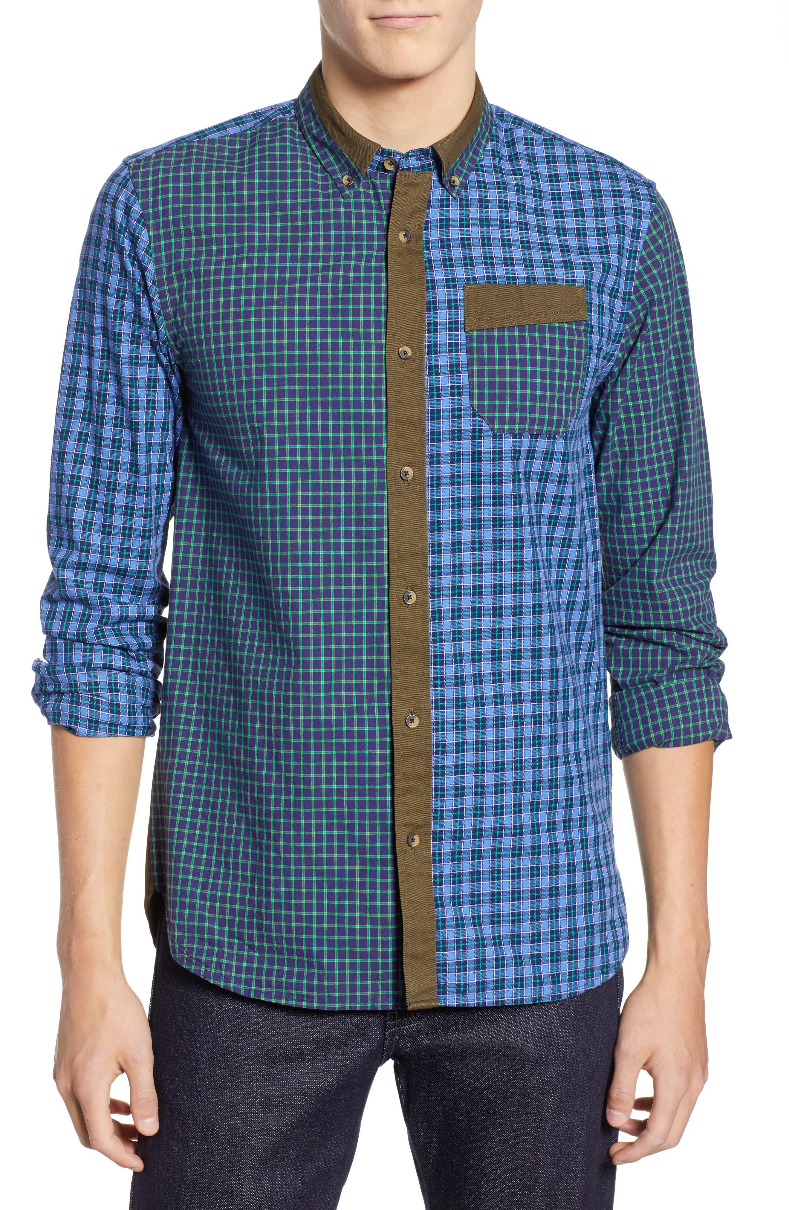 Regular Fit Pattern Blocked Sport Shirt,                         Main,                         color, 410